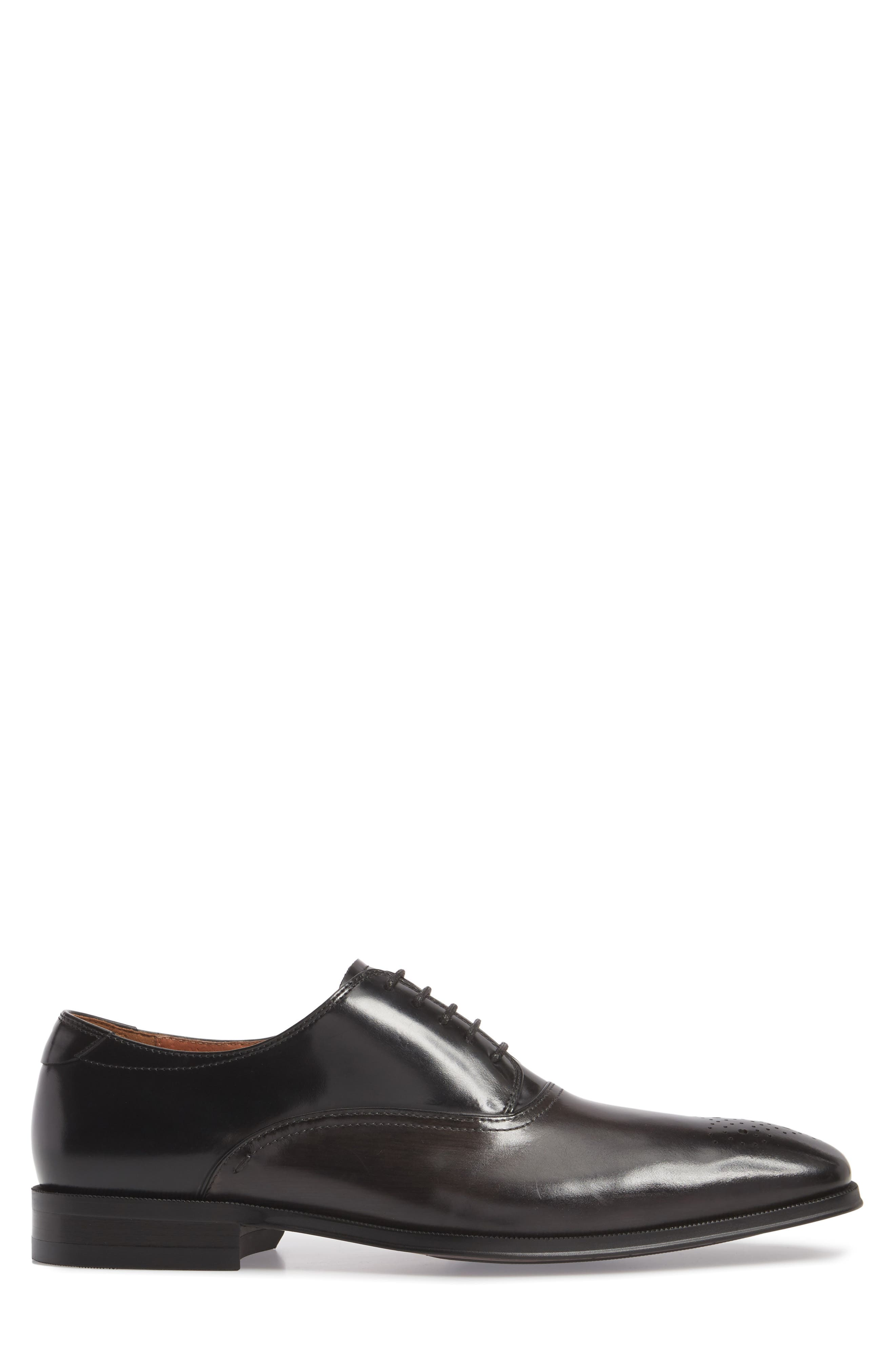 Belfast Brogued Derby,                             Alternate thumbnail 3, color,                             GRAY/ BLACK LEATHER