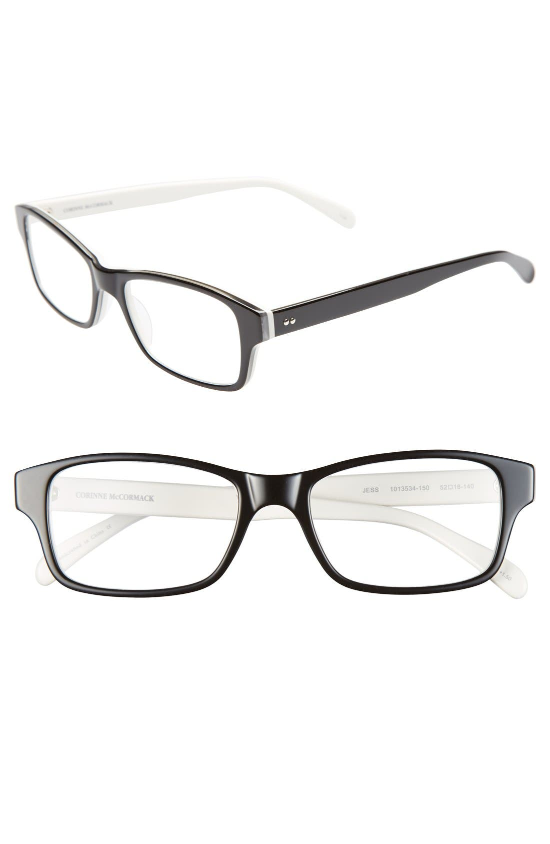 'Jess' 52mm Reading Glasses,                             Main thumbnail 1, color,                             BLACK/ WHITE