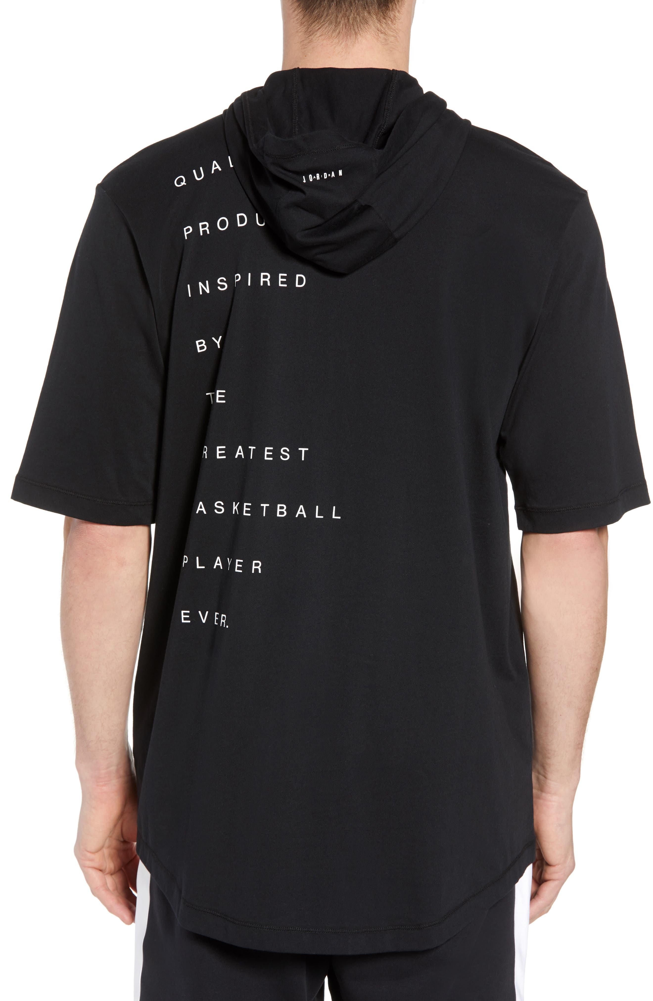 Jordan 23 Hooded T-Shirt,                             Alternate thumbnail 2, color,                             BLACK/ WHITE