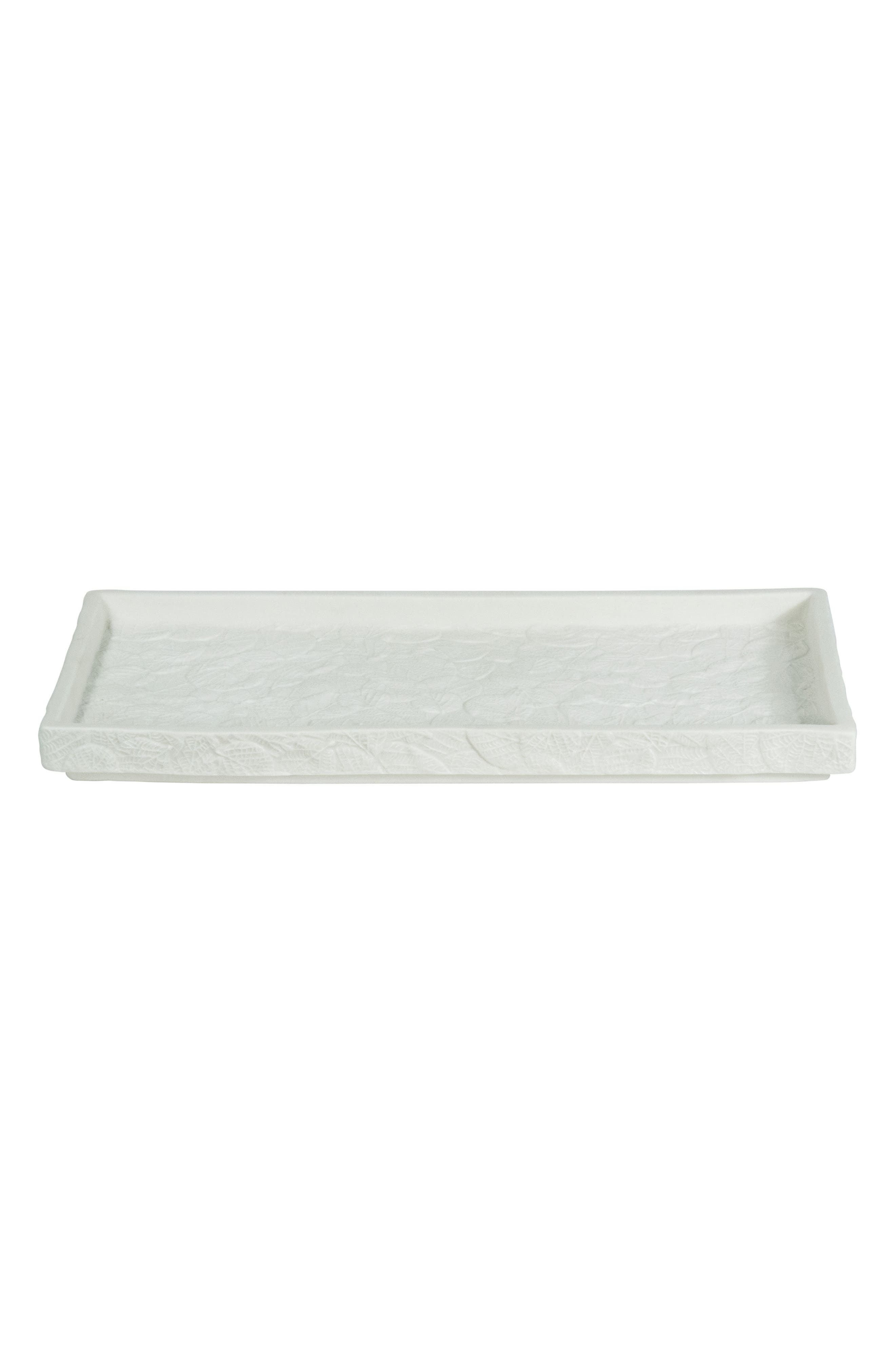 Botanical Leaf Porcelain Tray,                         Main,                         color, WHITE