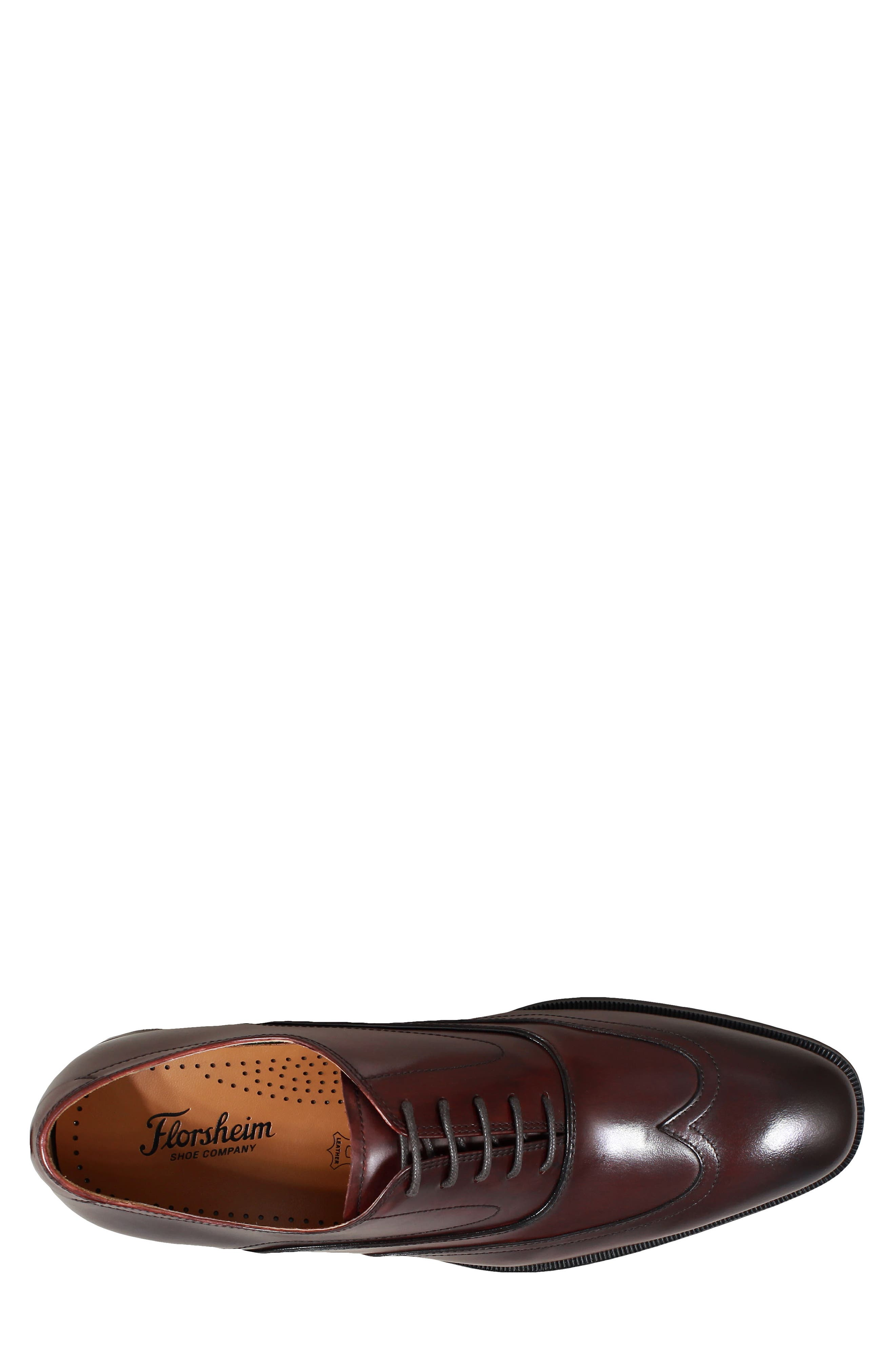 Belfast Wingtip,                             Alternate thumbnail 5, color,                             BURGUNDY LEATHER