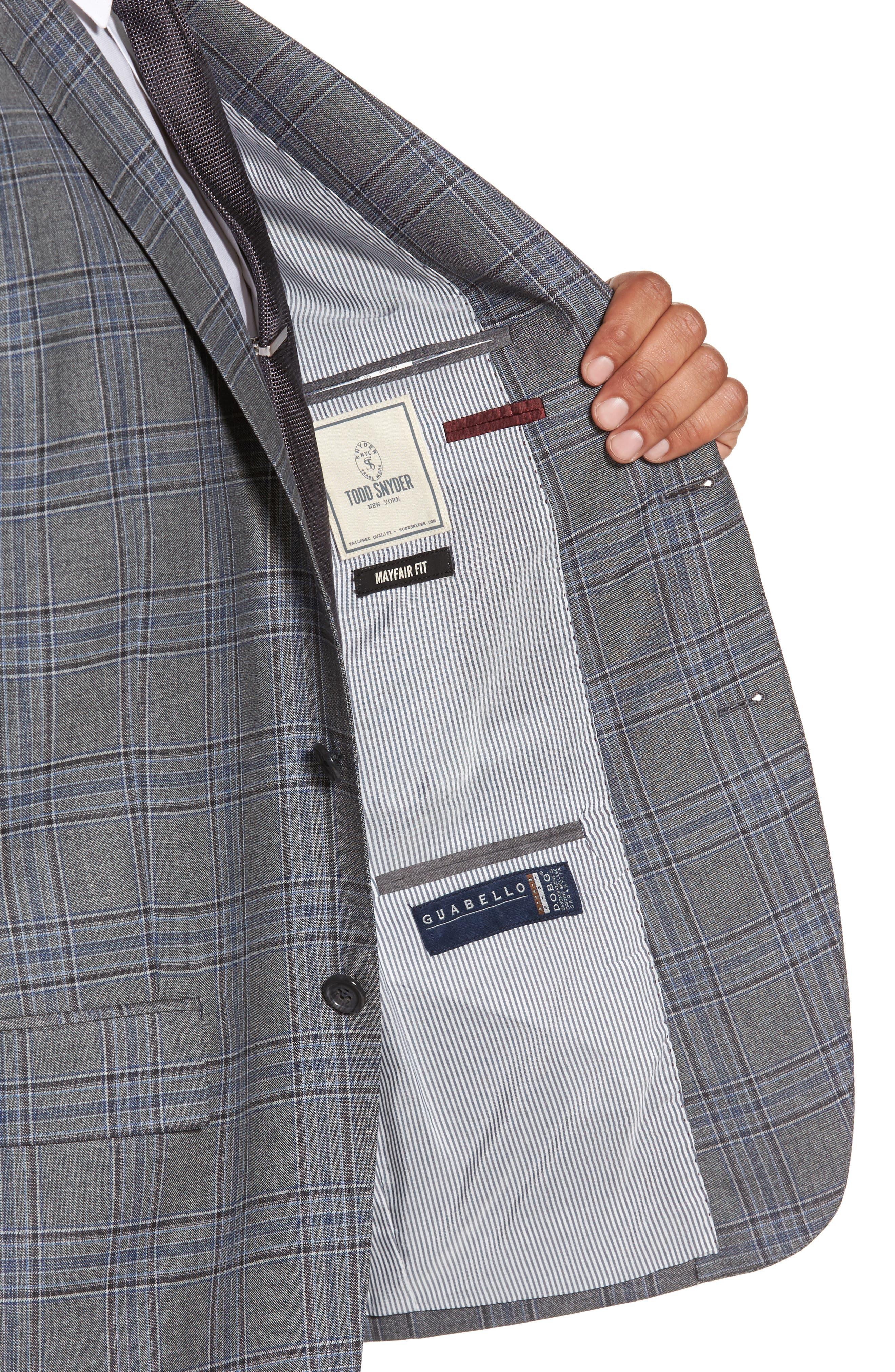 Trim Fit Plaid Wool Sport Coat,                             Alternate thumbnail 4, color,                             030