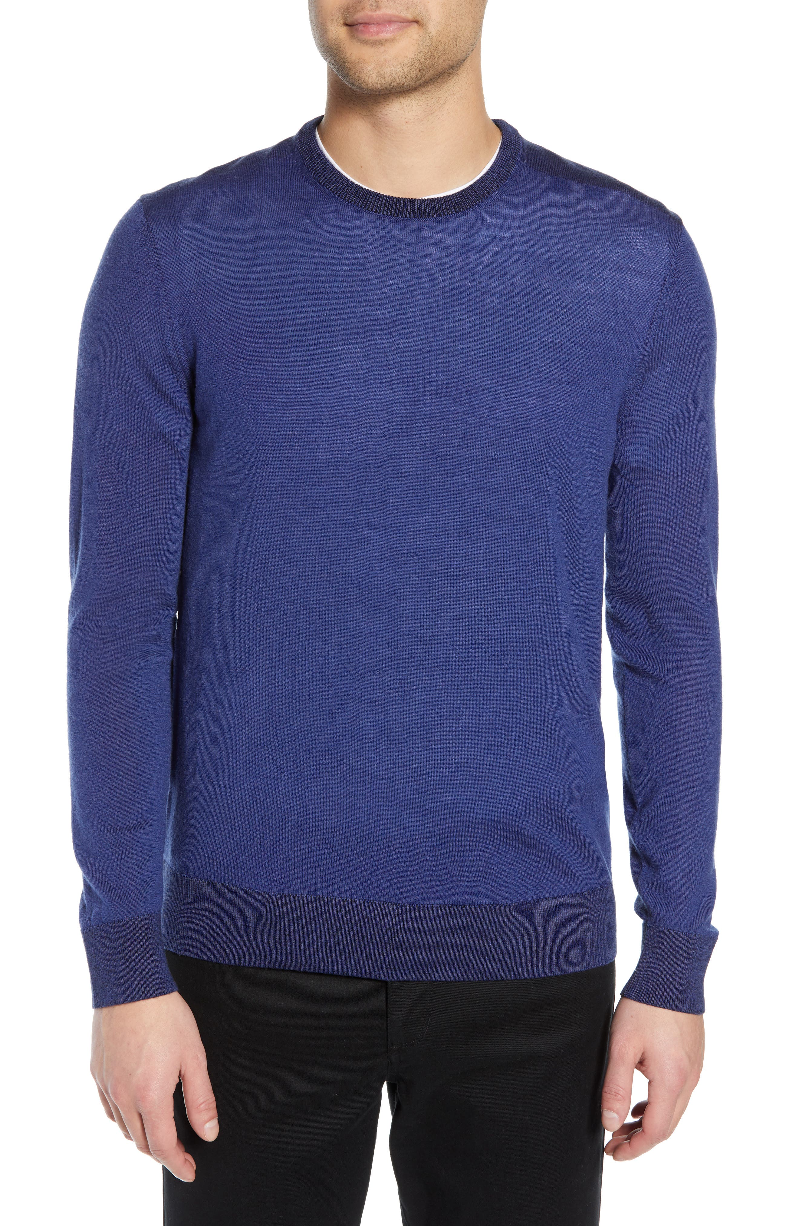 Theory Rothley Castellos Regular Fit Merino Wool Sweater, Blue