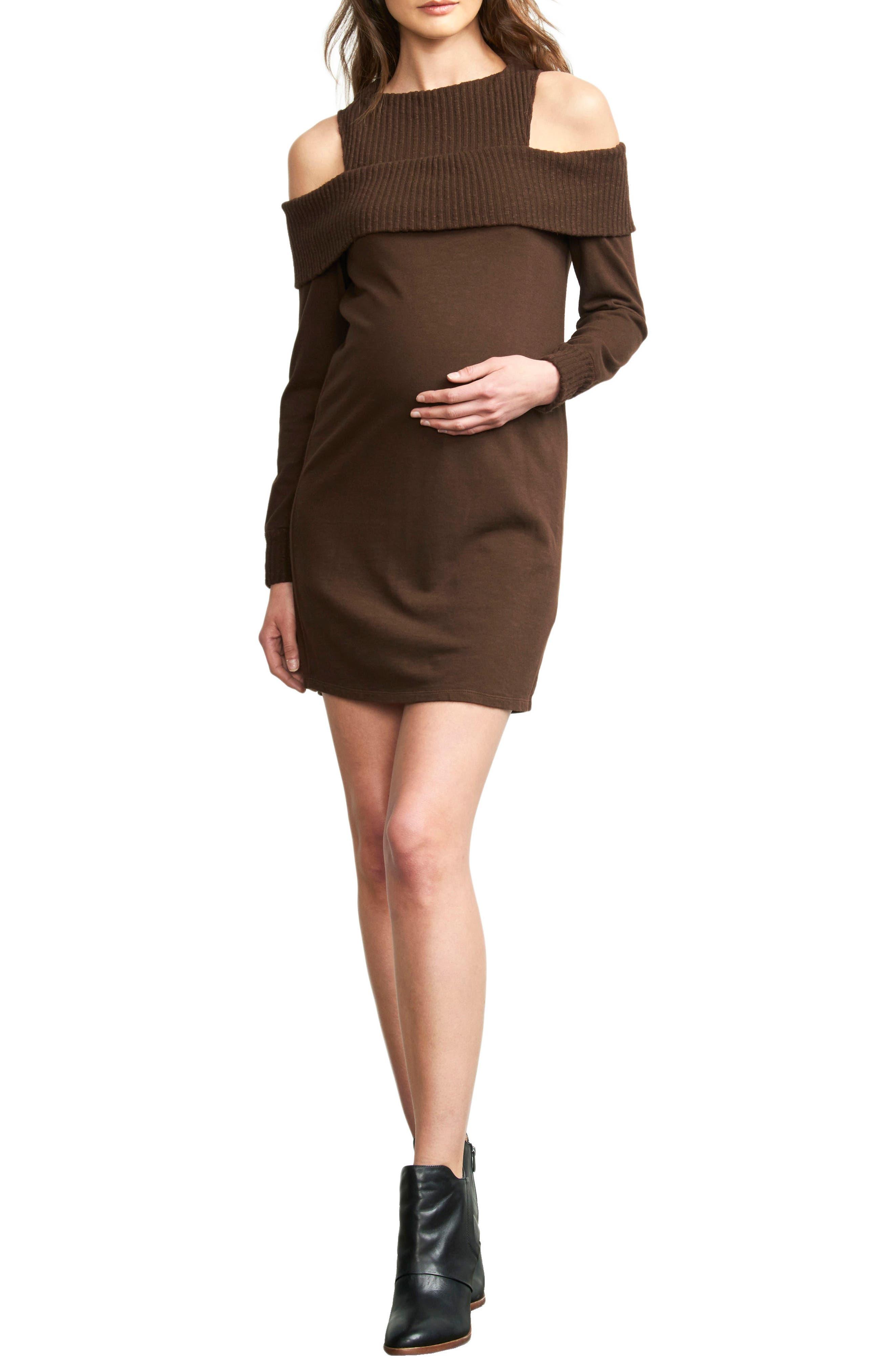 Maternal America Rib Detail Cold Shoulder Maternity Dress, Brown