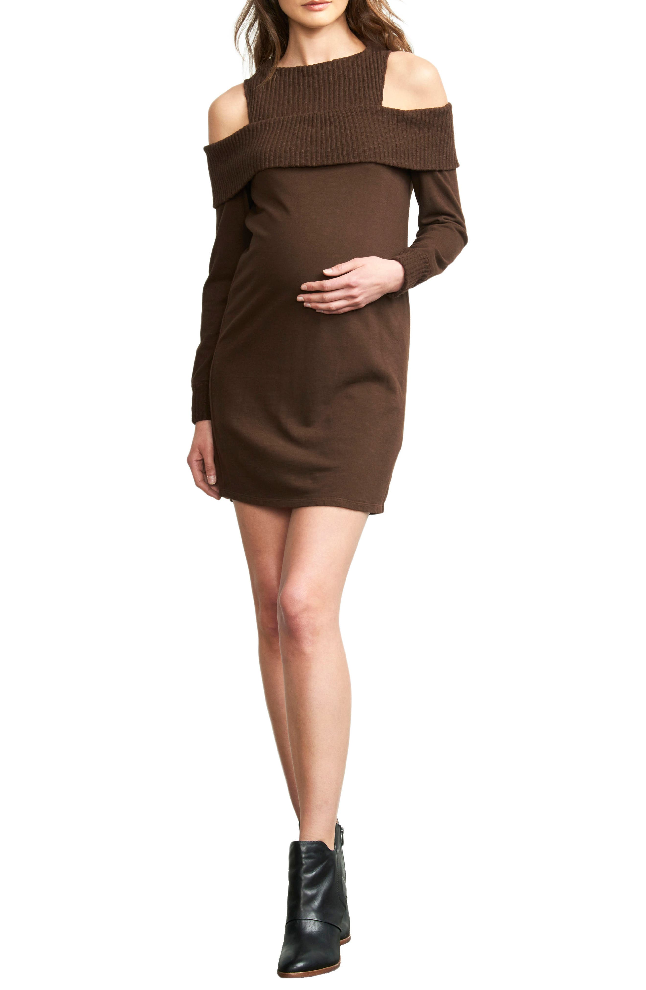 Rib Detail Cold Shoulder Maternity Dress,                         Main,                         color, CHOCOLATE