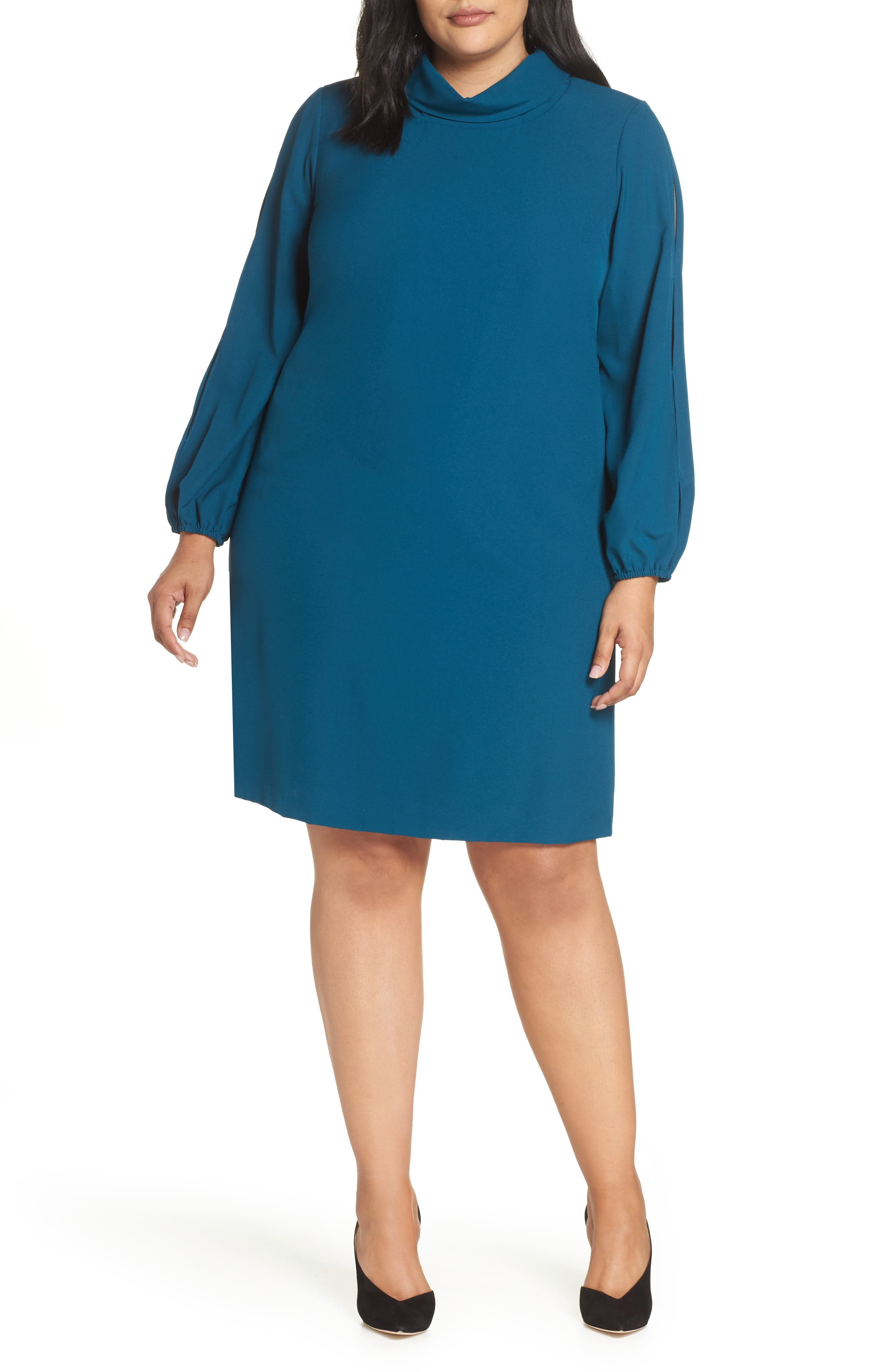 Long Split Sleeve Crepe Sheath Dress,                             Main thumbnail 1, color,                             OCEAN TEAL