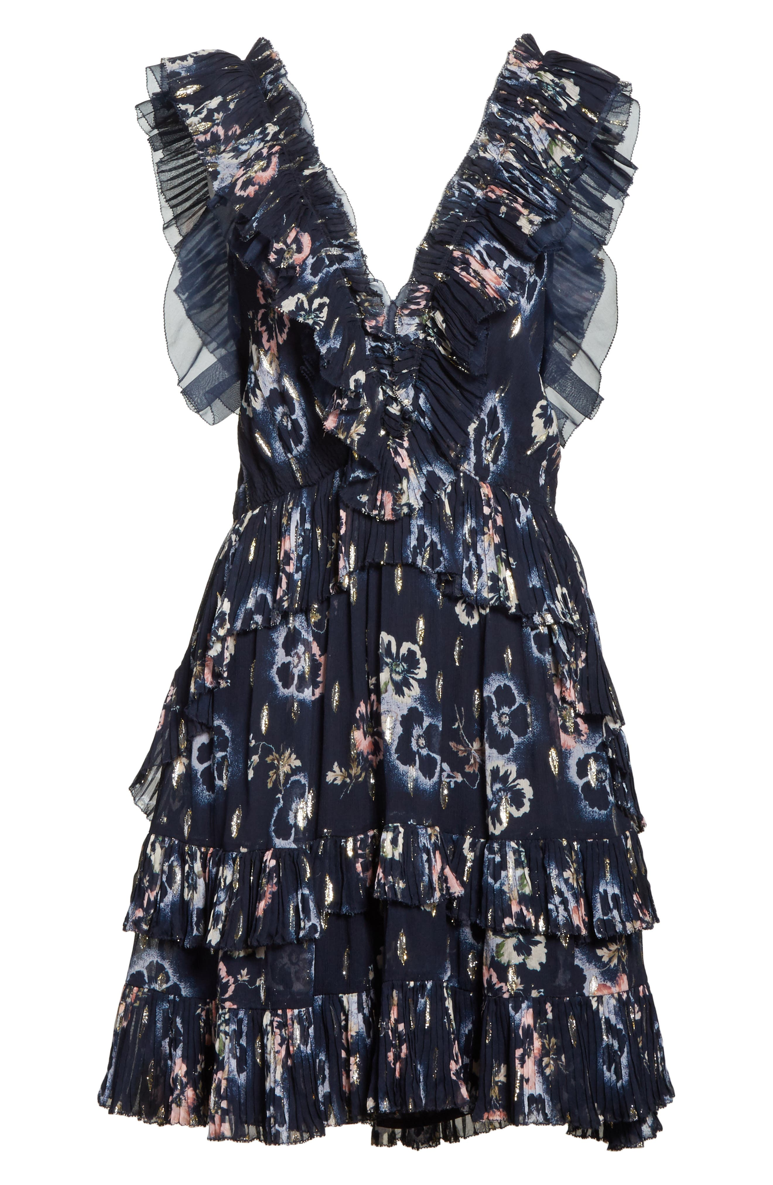 Faded Floral Fit & Flare Dress,                             Alternate thumbnail 6, color,                             NAVY
