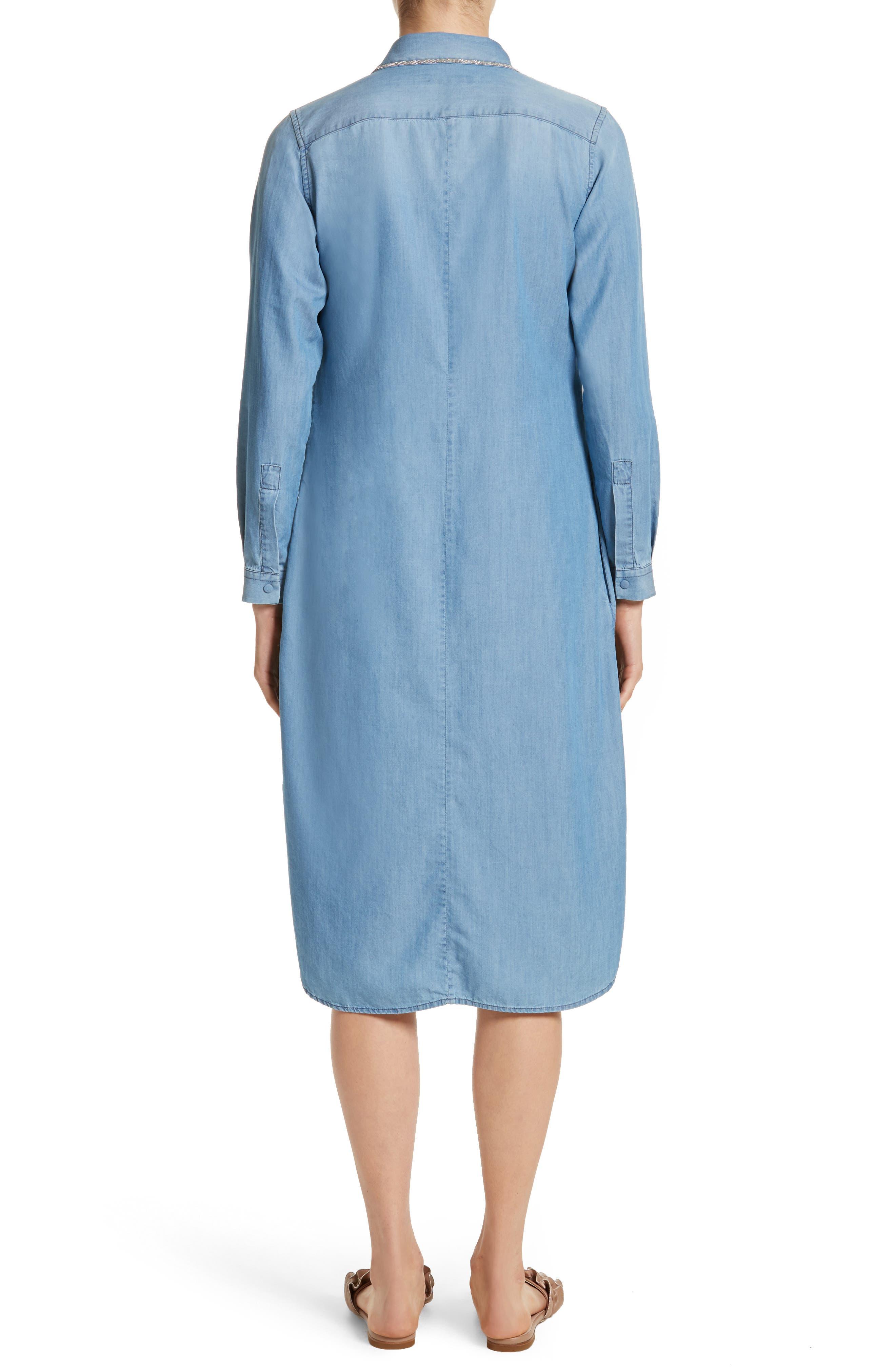 Cotton & Cashmere Chambray Shirtdress,                             Alternate thumbnail 2, color,                             400