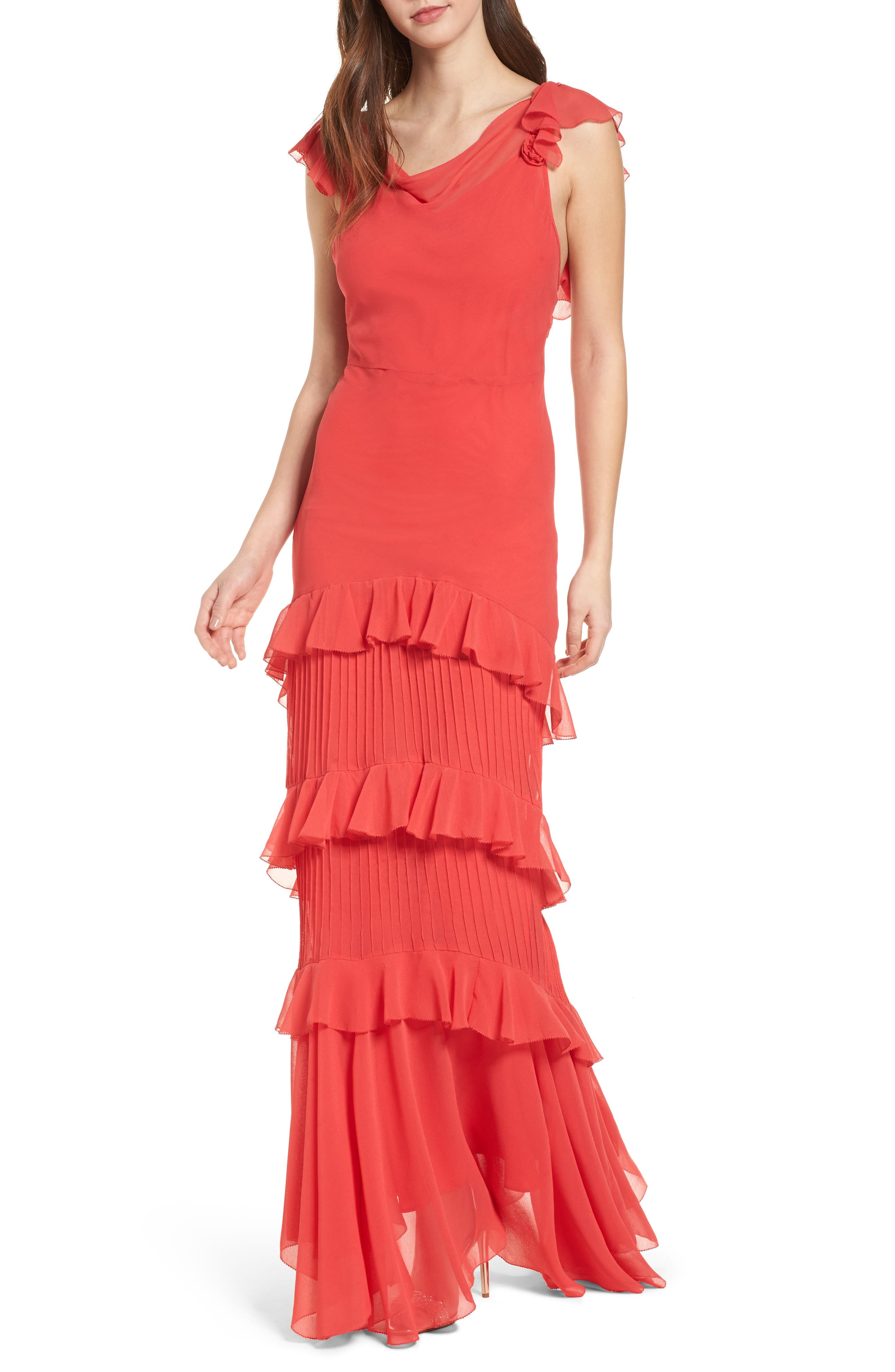 Ruffle Maxi Dress,                             Alternate thumbnail 5, color,                             600