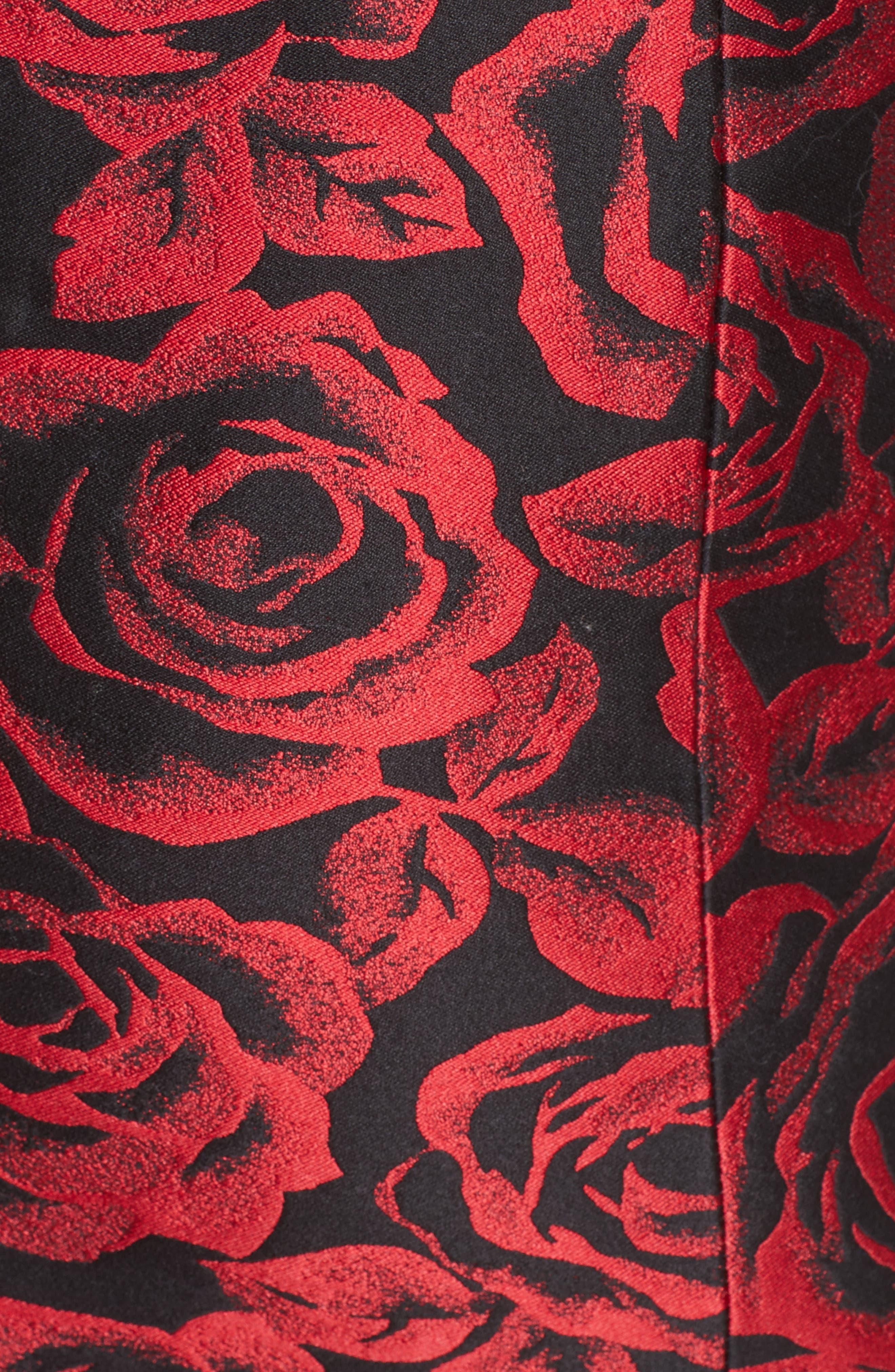 Rose Jacquard Bustier Sheath Dress,                             Alternate thumbnail 5, color,                             611
