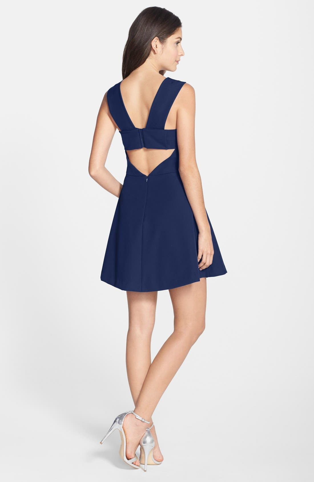 Bianca Back Cutout Fit & Flare Dress,                             Alternate thumbnail 90, color,