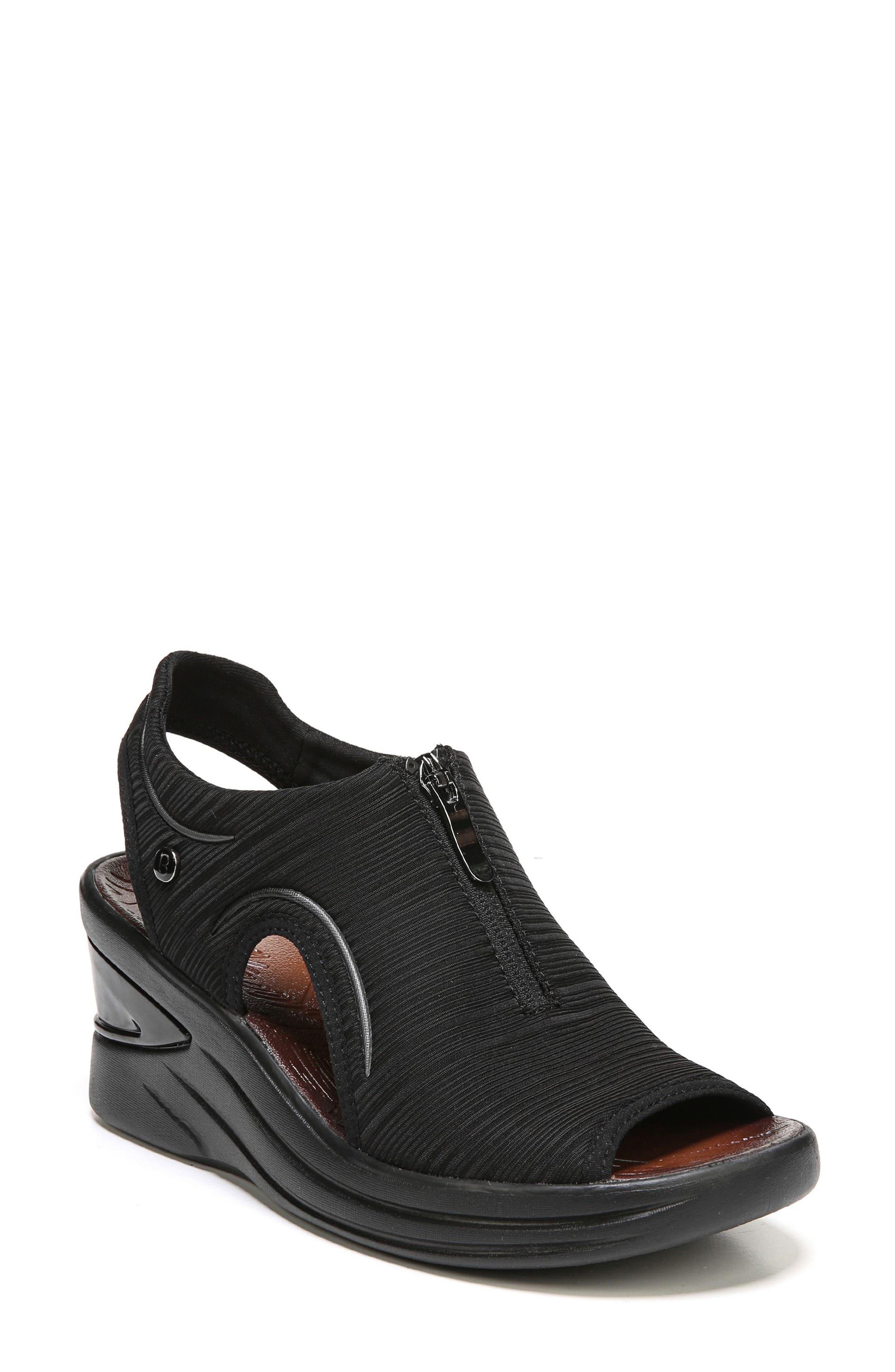 Vinny Wedge Sandal,                         Main,                         color, BLACK FABRIC