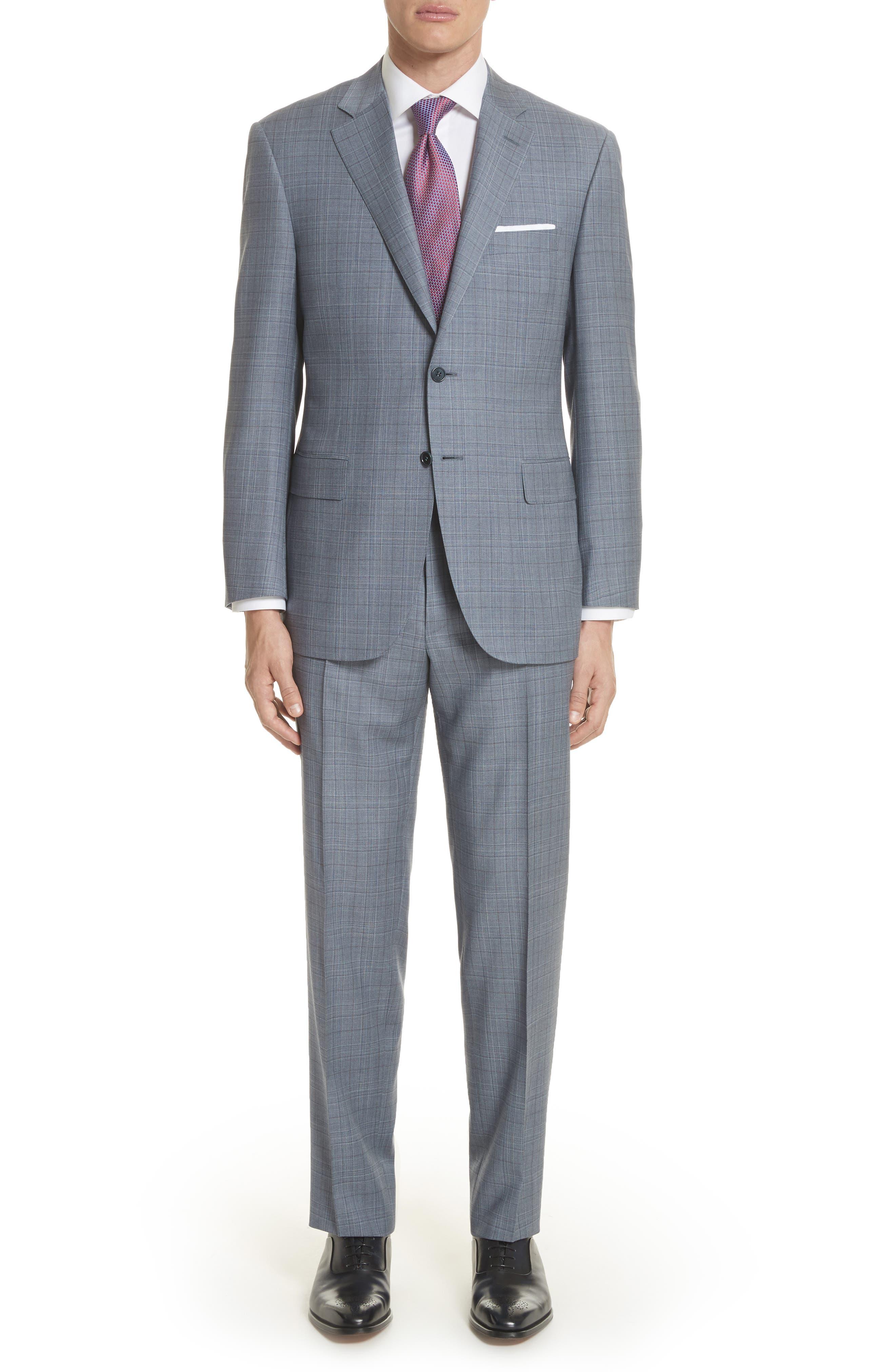 Classic Fit Plaid Wool Suit,                             Main thumbnail 1, color,                             400