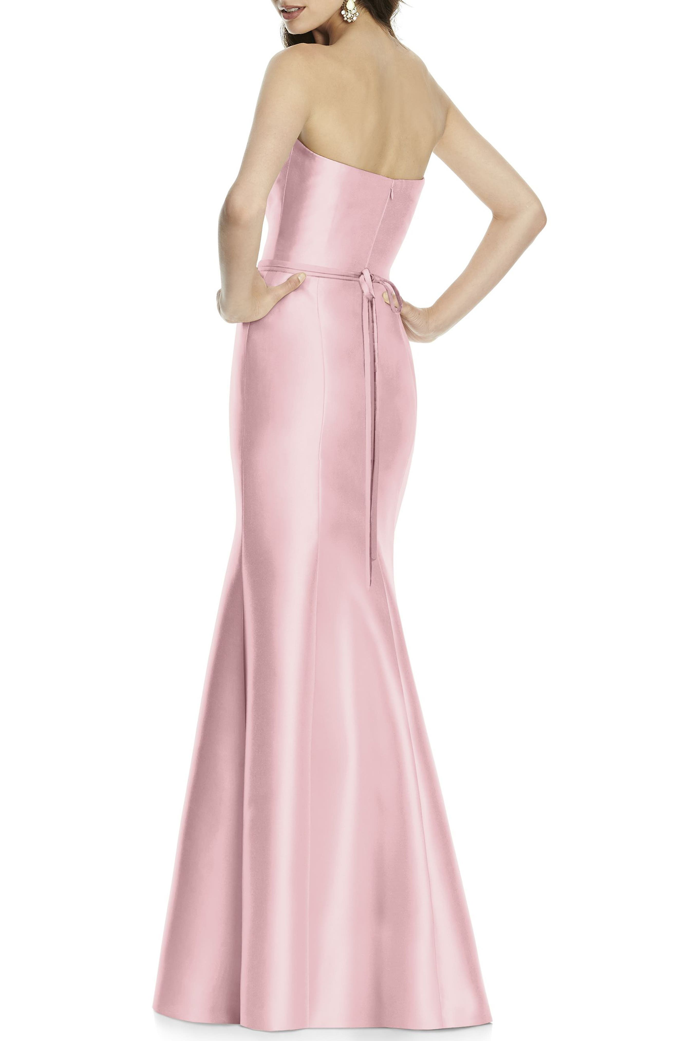 Strapless Sateen Trumpet Gown,                             Alternate thumbnail 2, color,                             697