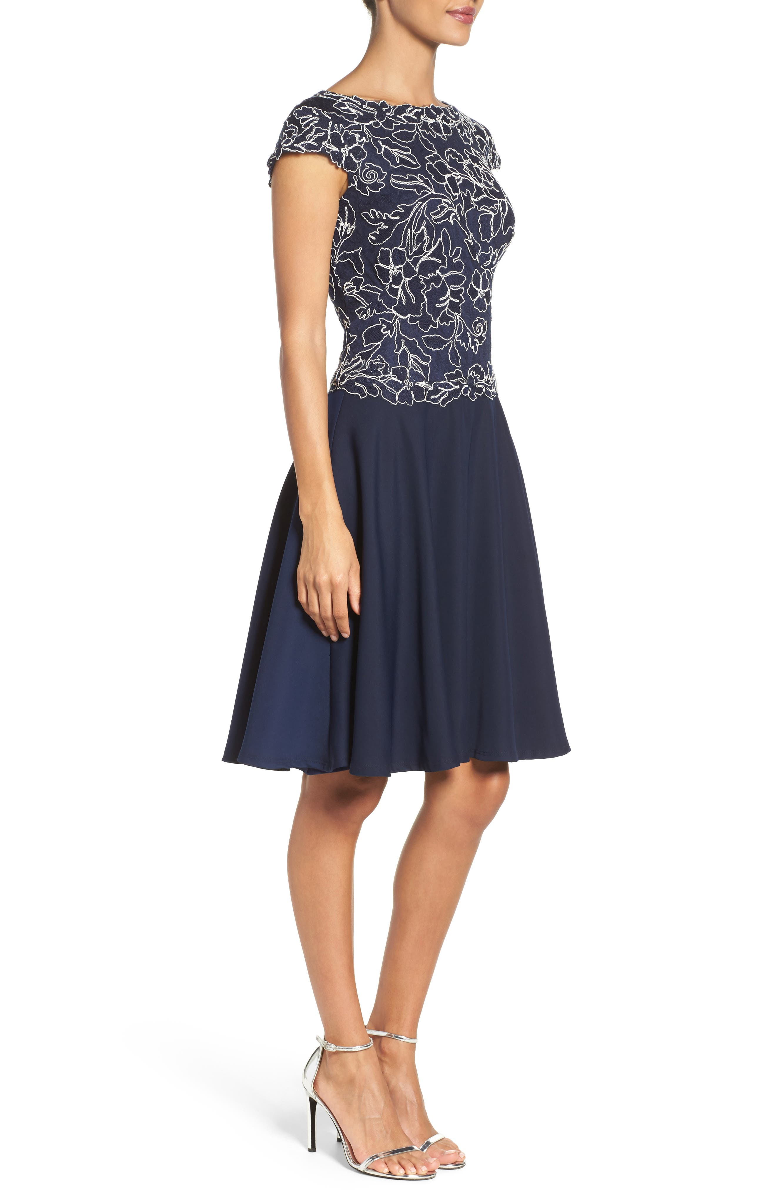 Embroidered Lace Fit & Flare Dress,                             Alternate thumbnail 9, color,
