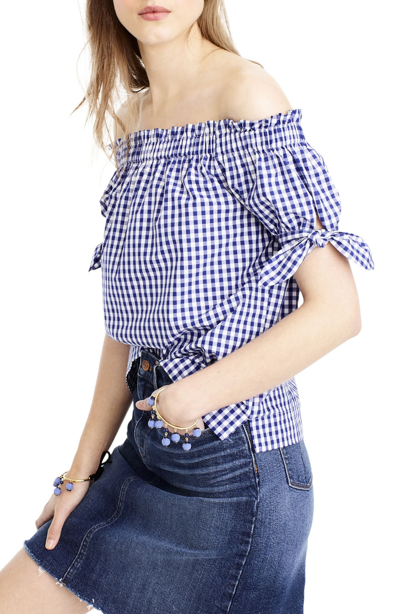 Gingham Off the Shoulder Top,                         Main,                         color, 400