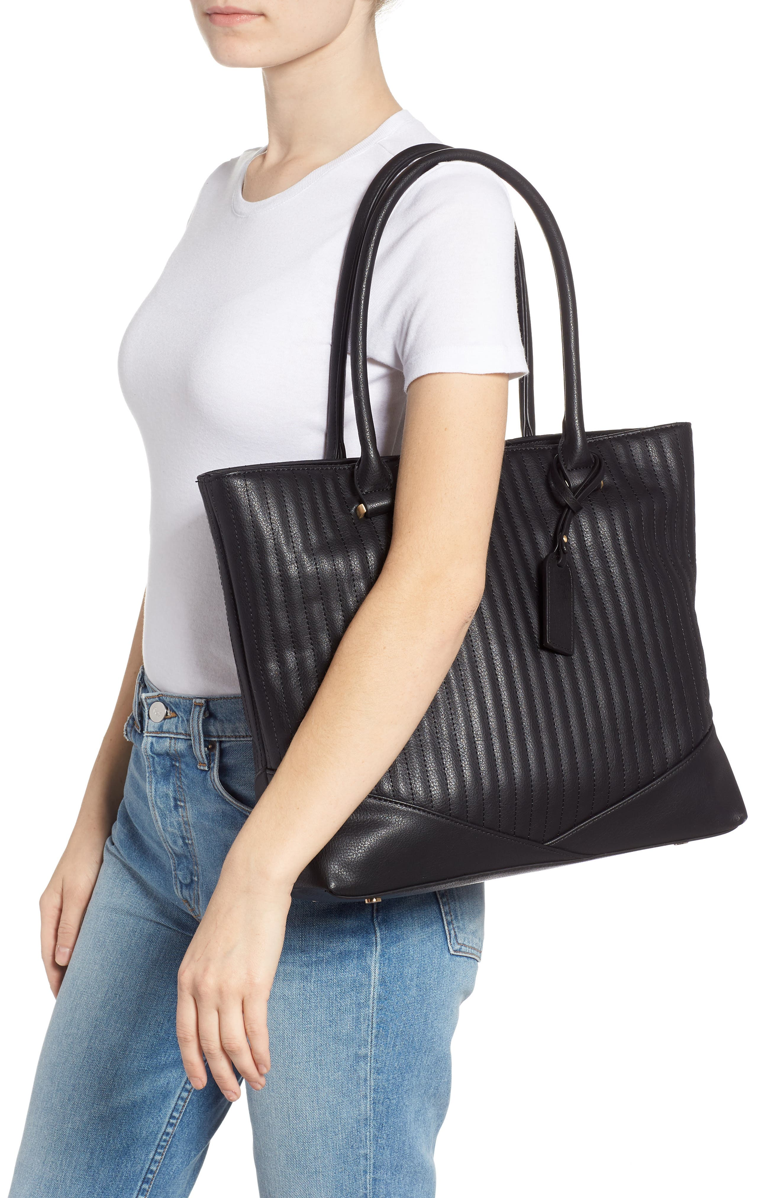 Urche Quilted Faux Leather Tote,                             Alternate thumbnail 2, color,                             BLACK