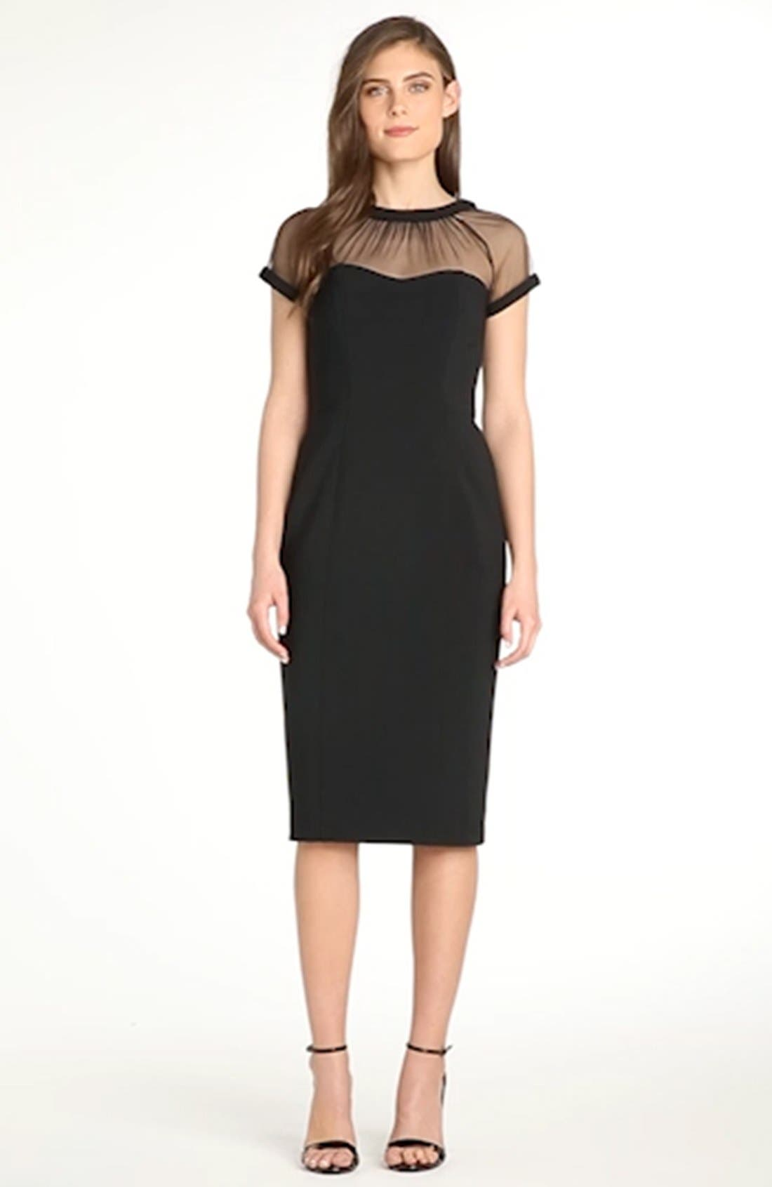 Illusion Yoke Crepe Sheath Dress,                             Alternate thumbnail 9, color,                             BLACK