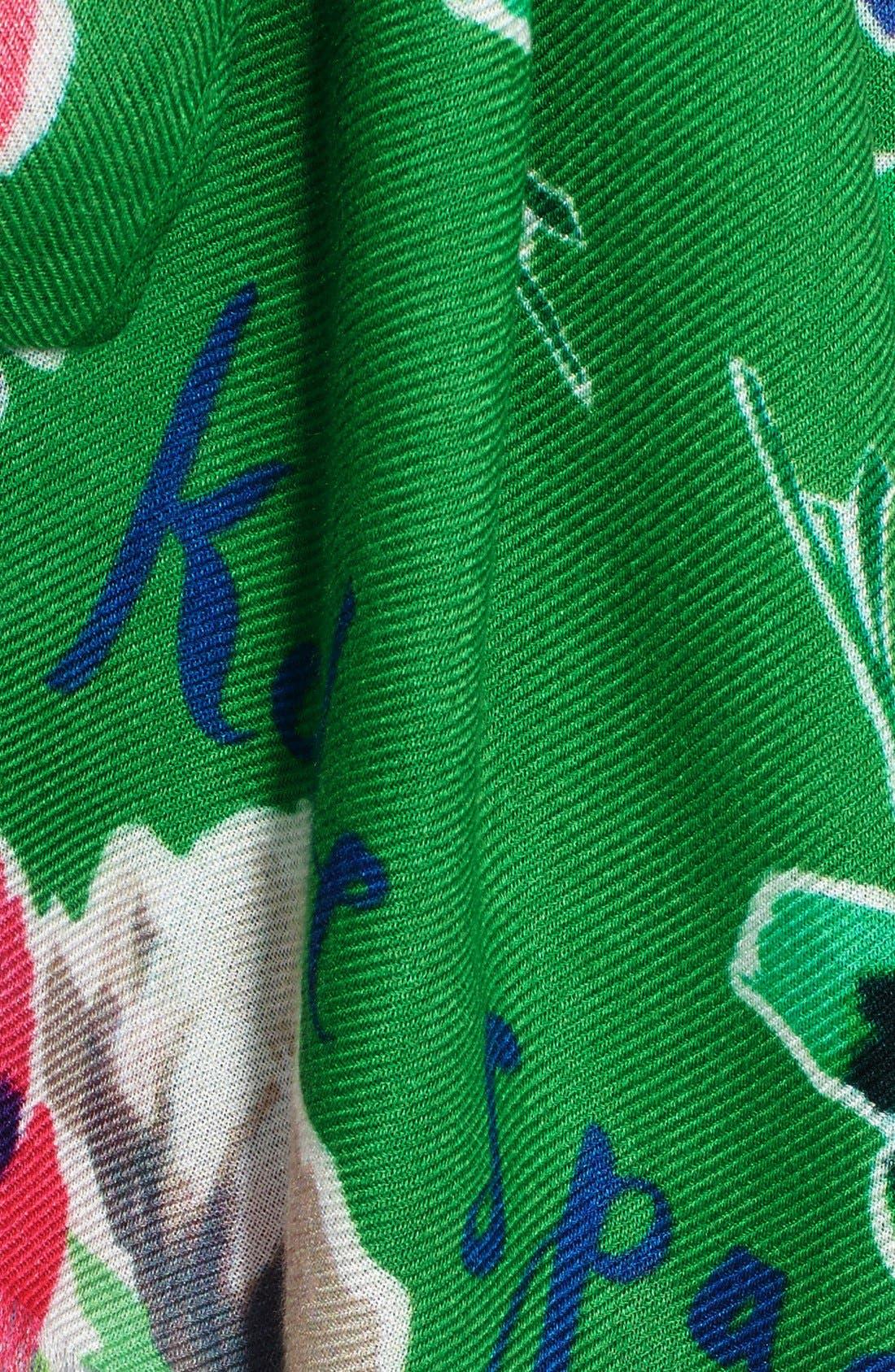 KATE SPADE NEW YORK,                             'spring blooms' scarf,                             Alternate thumbnail 3, color,                             300