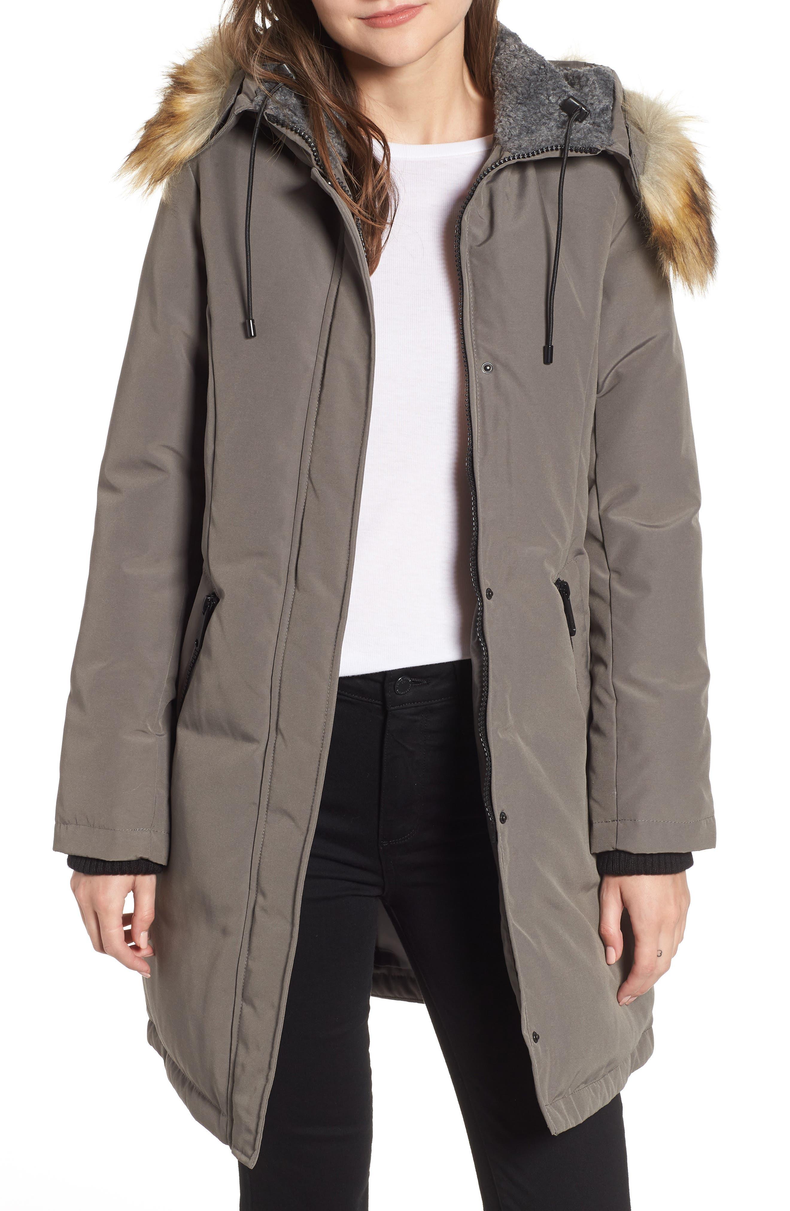 Faux Fur Trim Down Jacket,                             Main thumbnail 1, color,                             LIGHT GREY