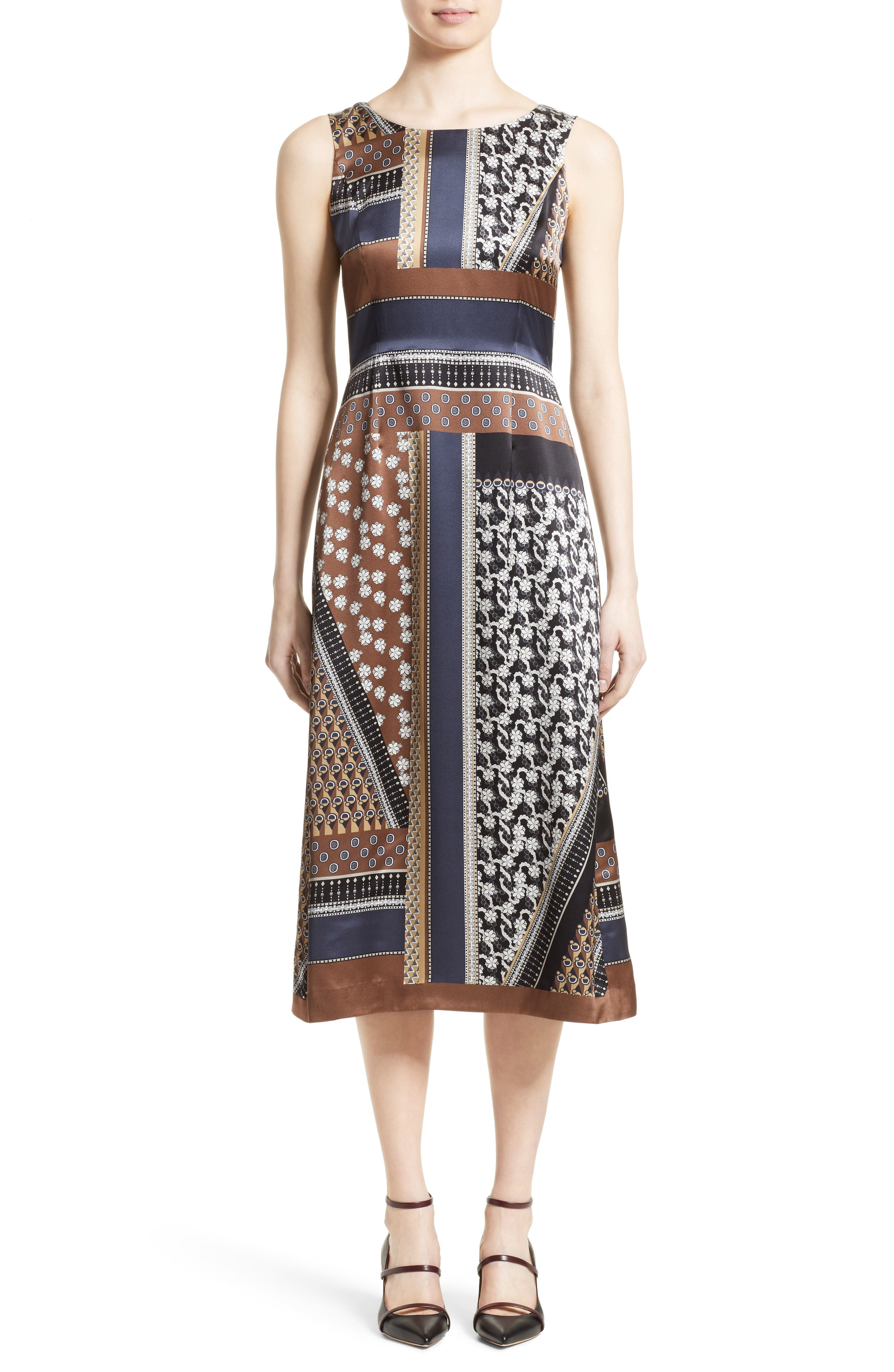 Sebella Silk Midi Dress,                             Main thumbnail 1, color,                             200