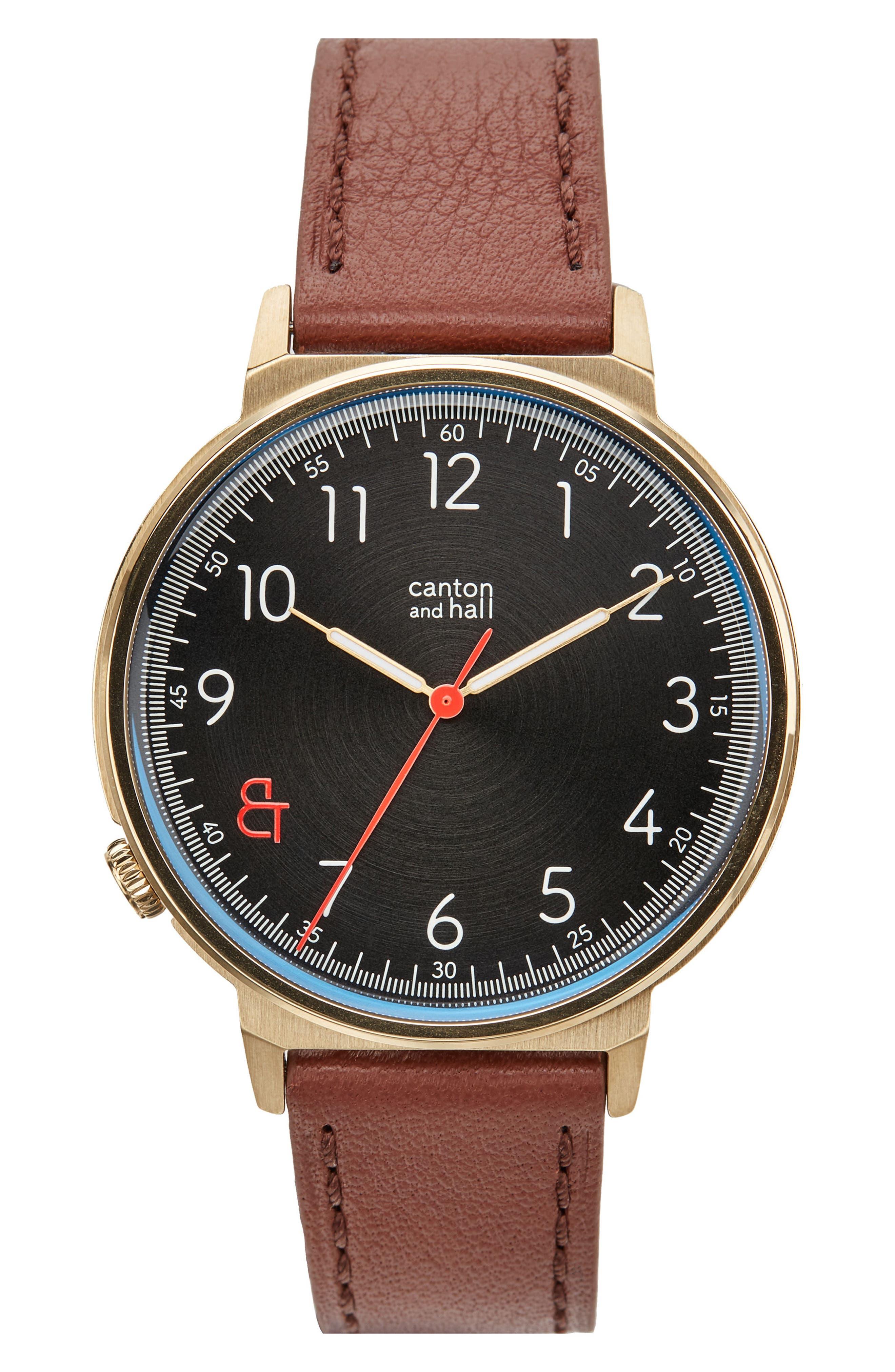 Davis Slim Leather Strap Watch, 44mm,                         Main,                         color, 200