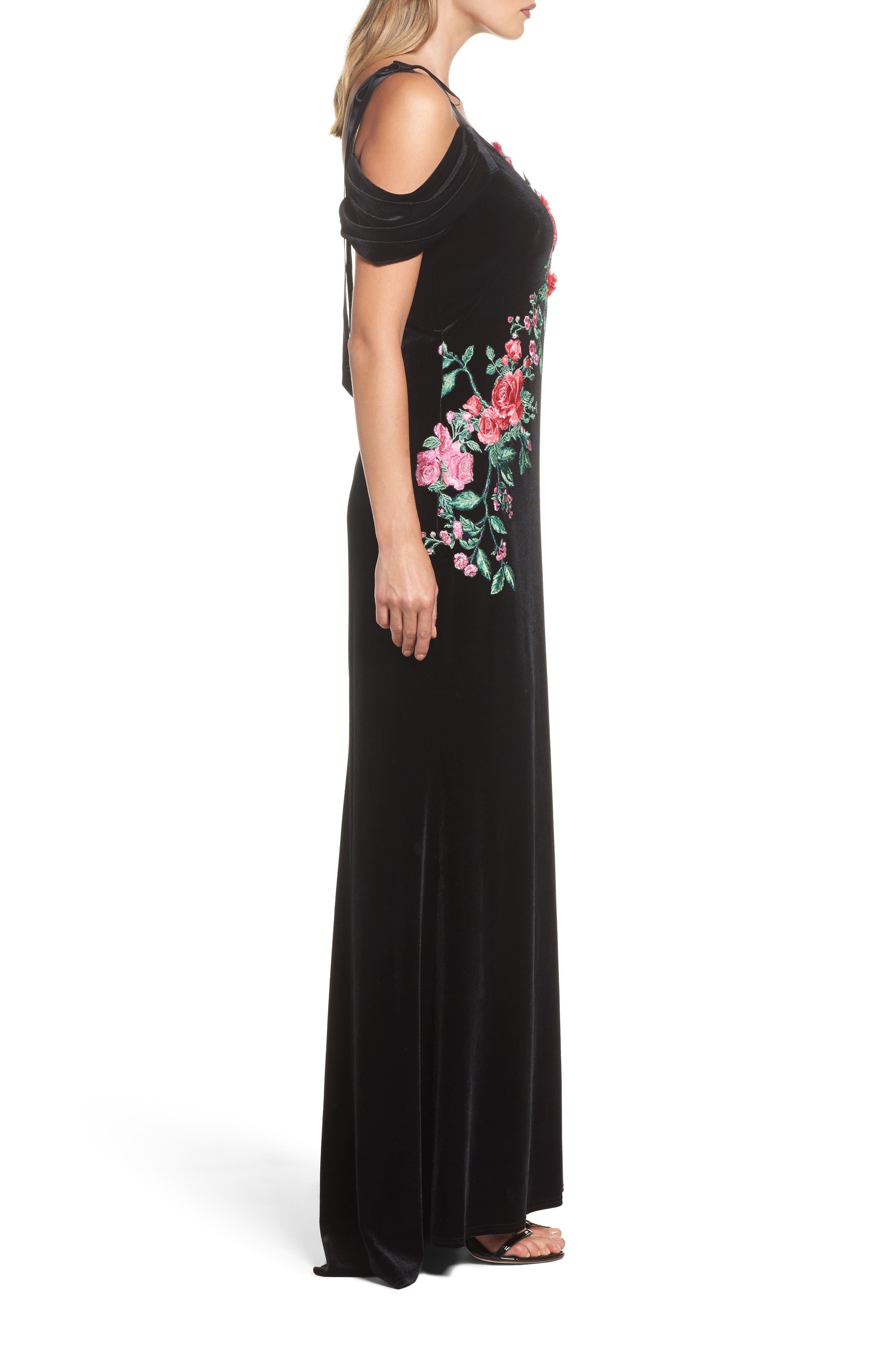 Embroidered Cold Shoulder Velvet Gown,                             Alternate thumbnail 3, color,                             BLACK