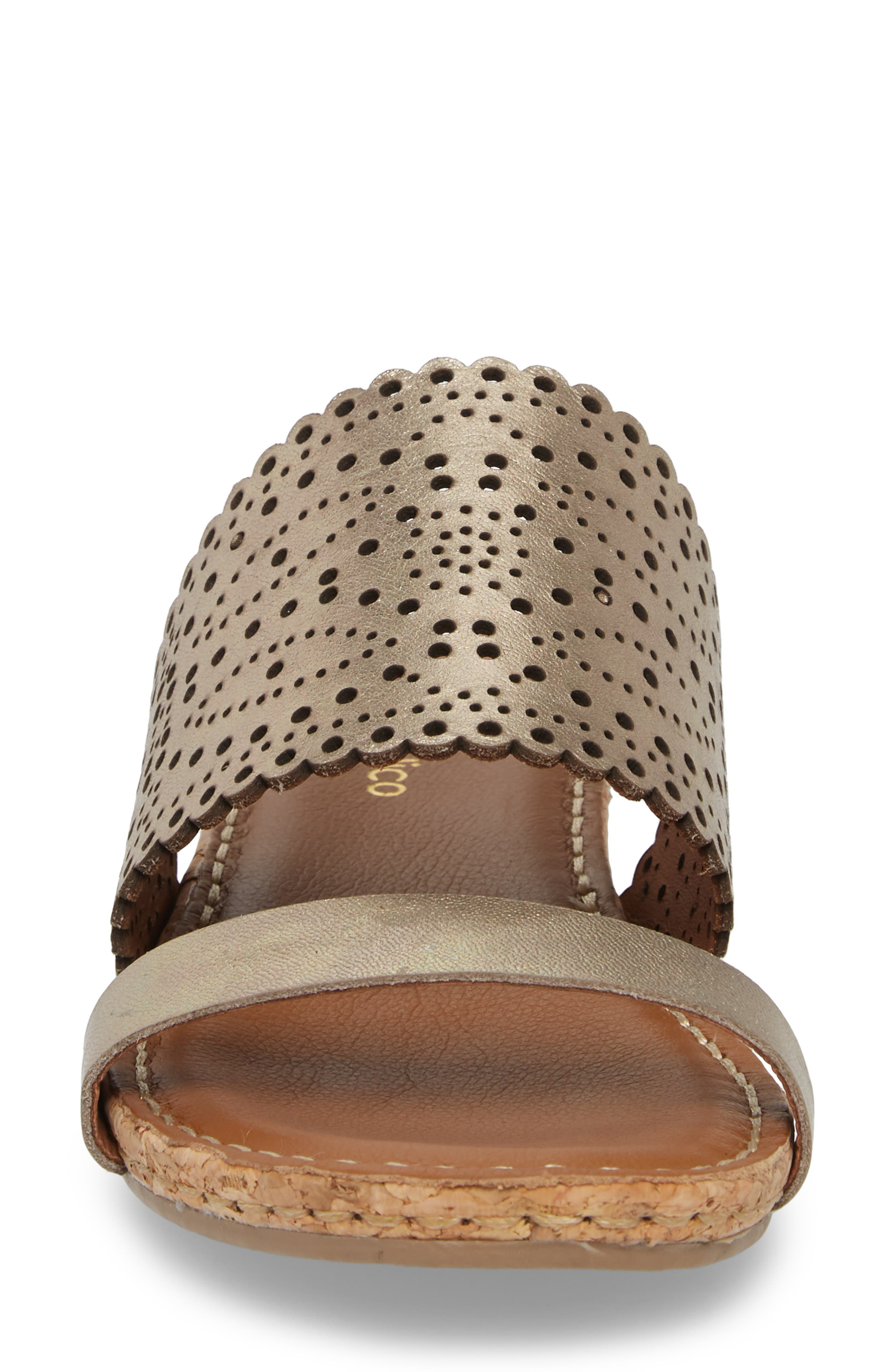 Ginette Perforated Slide Sandal,                             Alternate thumbnail 4, color,                             PEWTER LEATHER