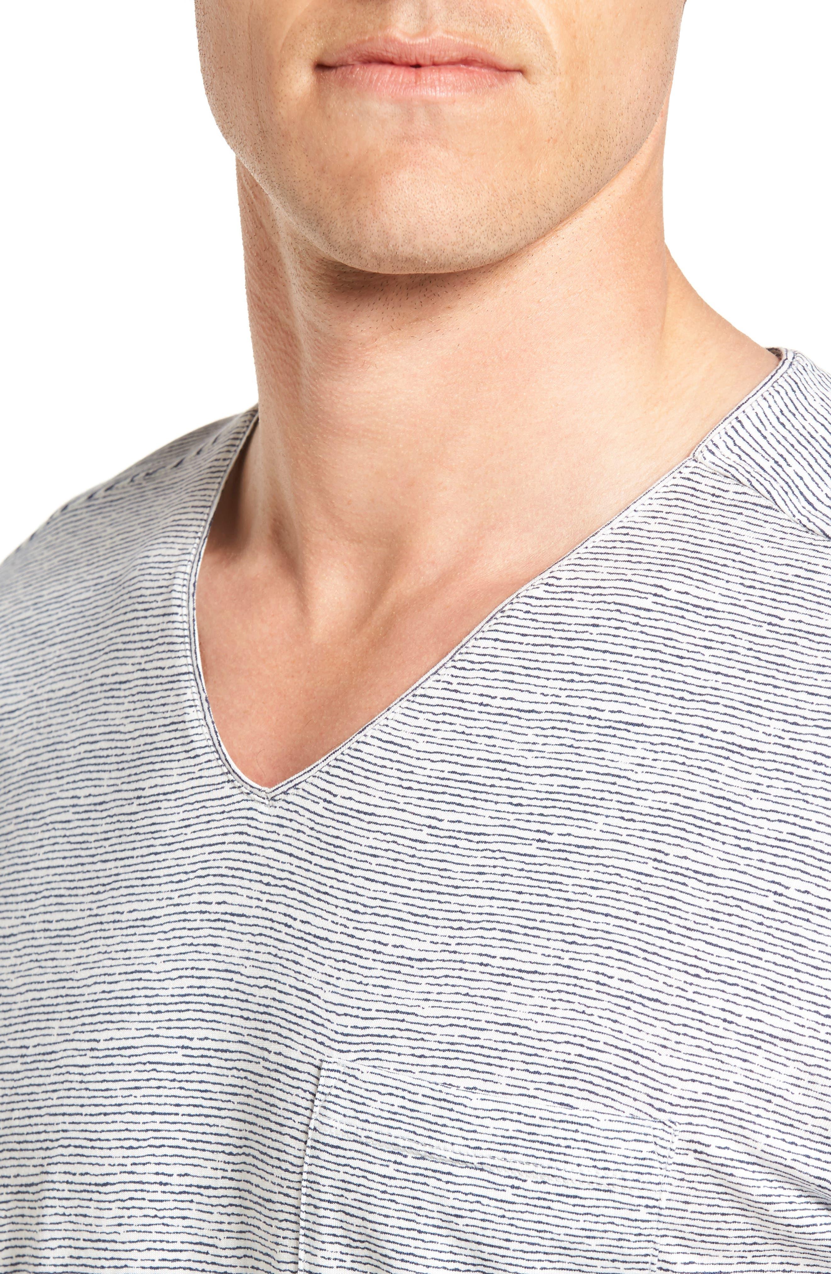 Feeder Stripe Pima Cotton & Modal V-Neck T-Shirt,                             Alternate thumbnail 11, color,
