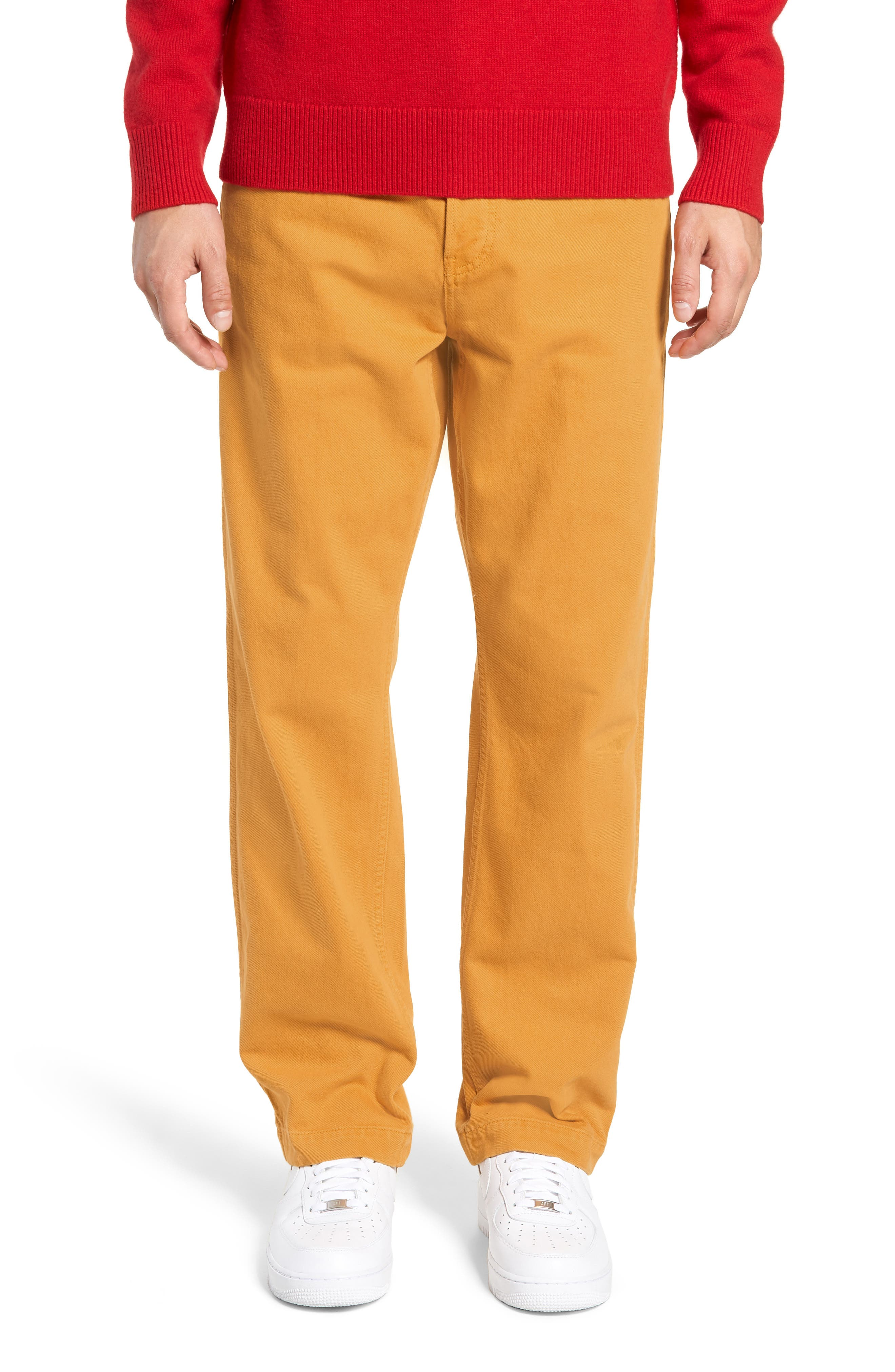 Overall Straight Leg Jeans,                             Main thumbnail 1, color,                             AUTUMN BLAZE