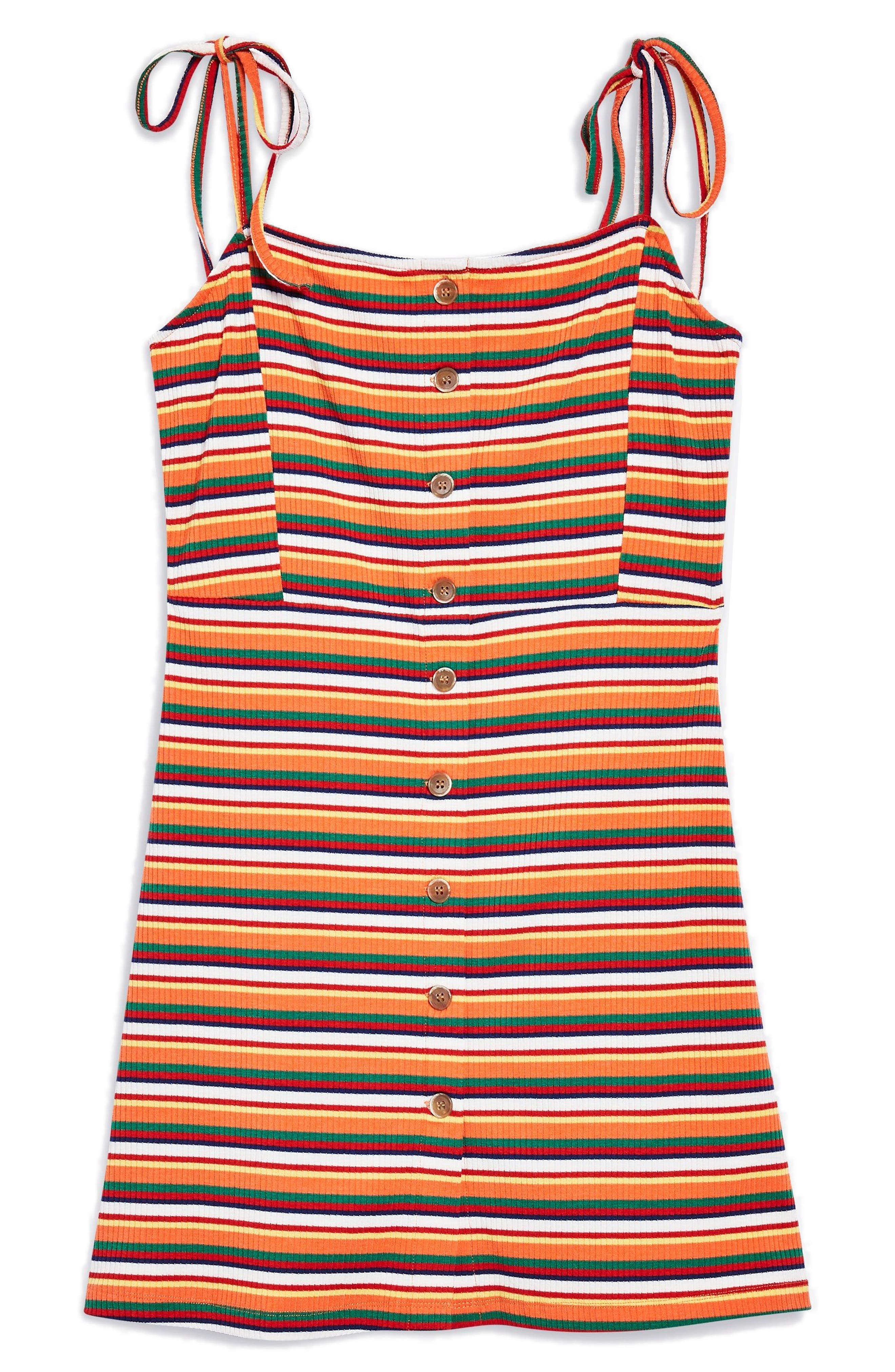 Stripe Button Down Minidress,                             Alternate thumbnail 3, color,                             801