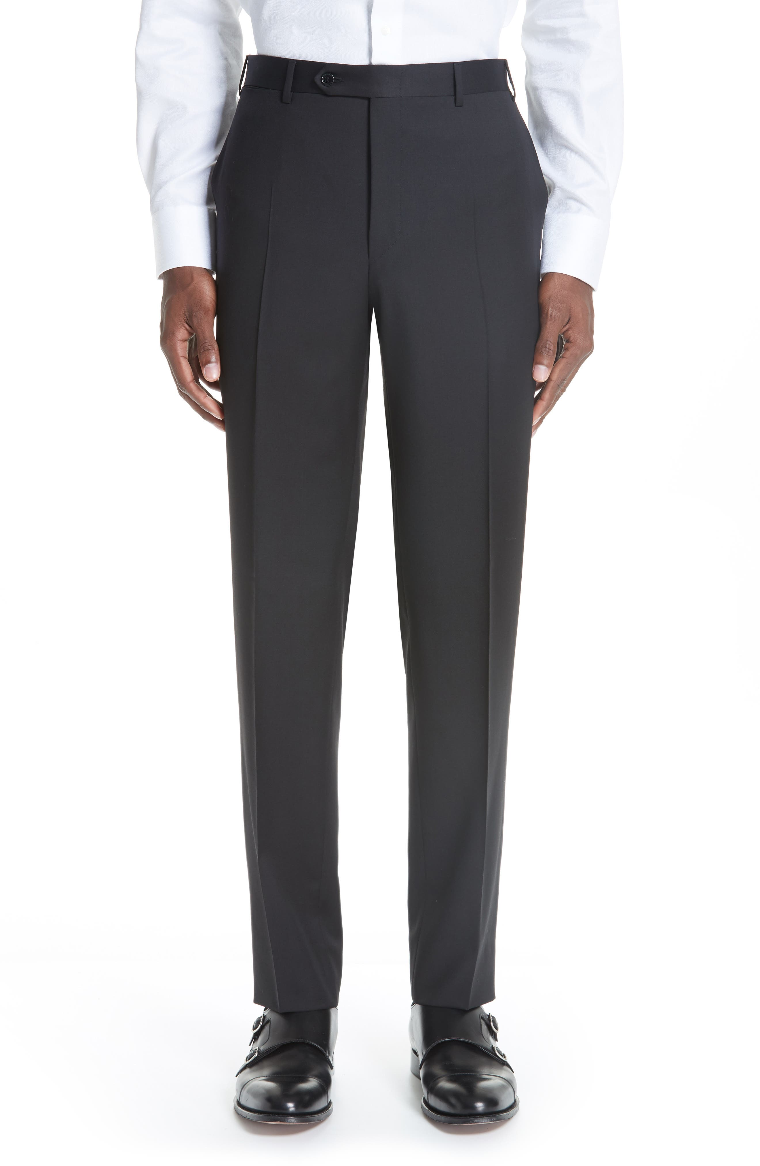 Classic Fit Solid Wool Suit,                             Alternate thumbnail 6, color,                             BLACK