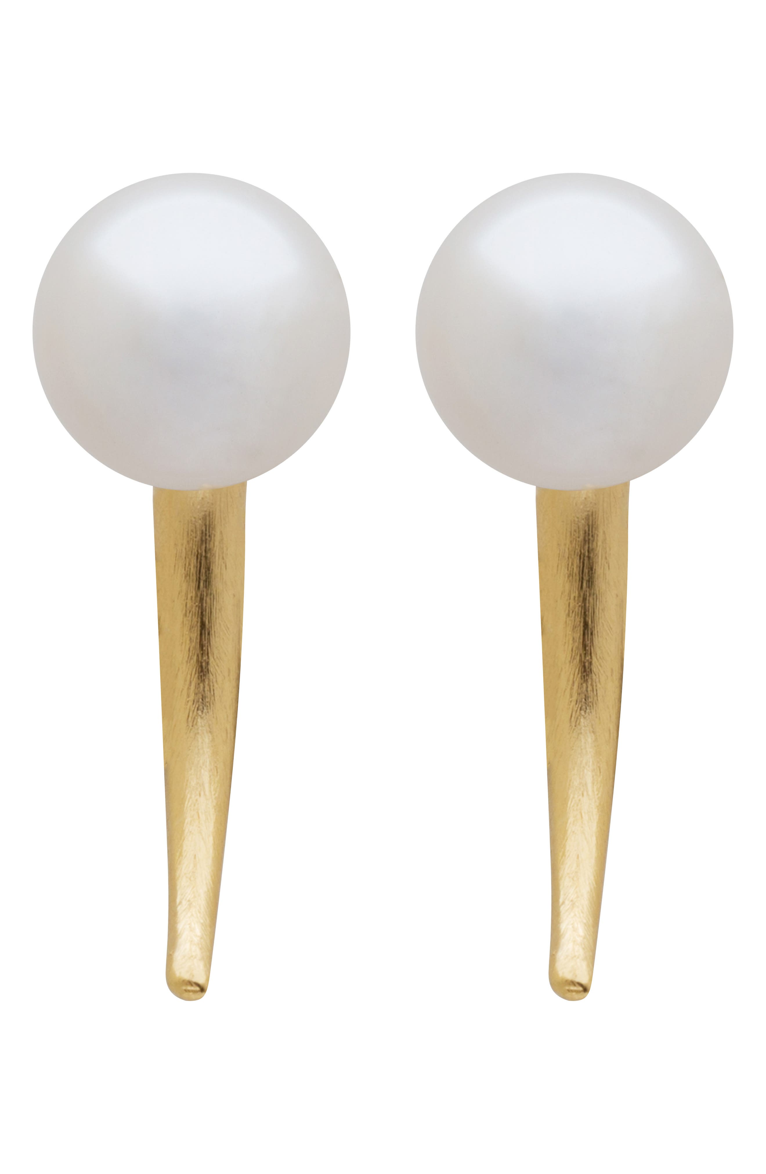 Simulated Pearl Small Spike Earrings, Main, color, 710