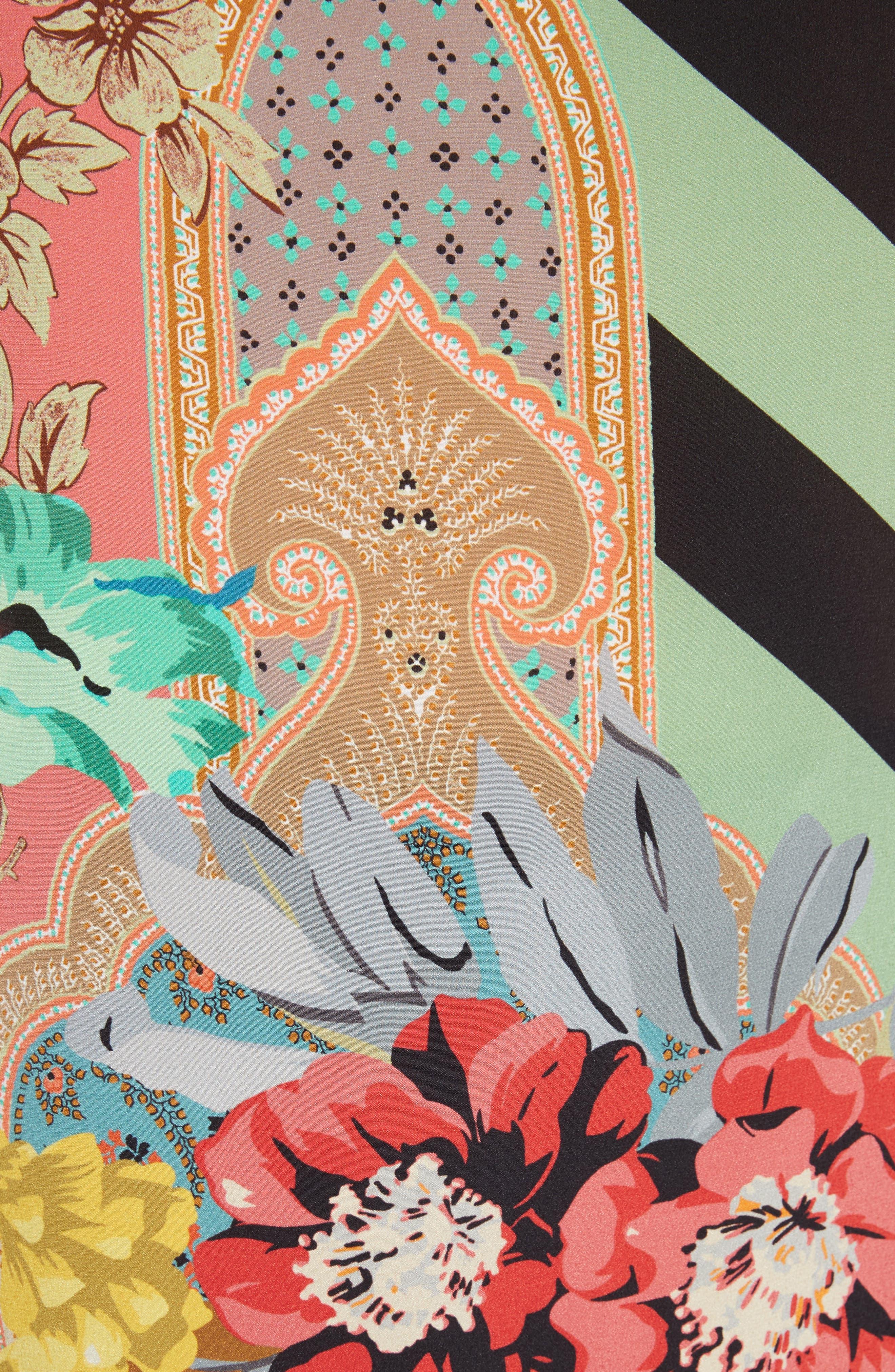 Fringe Hem Silk Poncho,                             Alternate thumbnail 5, color,                             001