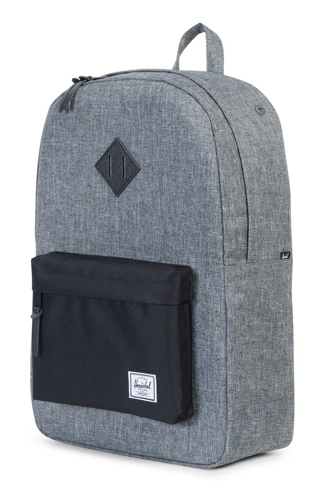 Heritage Backpack,                             Alternate thumbnail 10, color,                             RAVEN CROSSHATCH/ BLACK