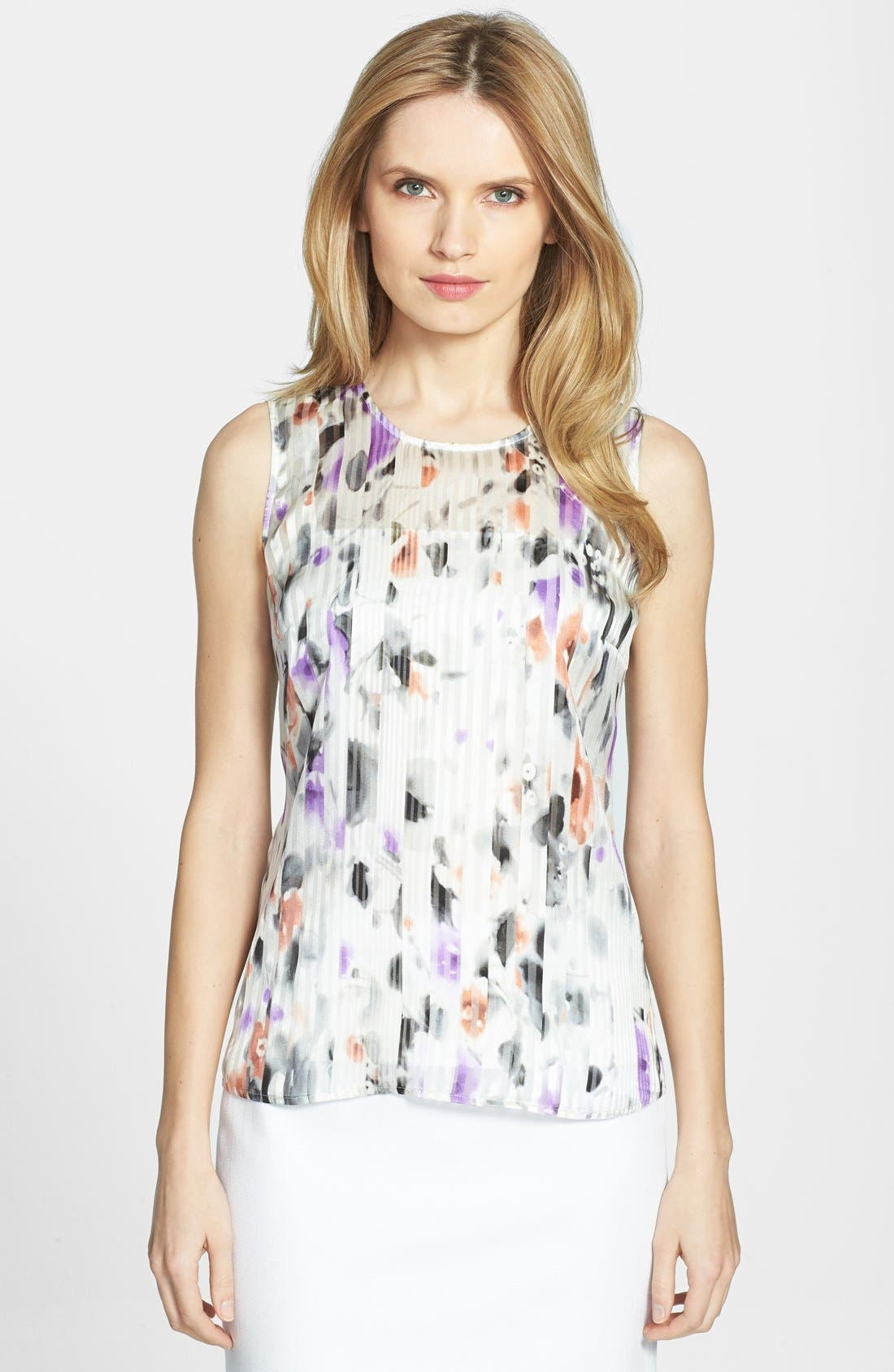 HUGO BOSS 'Idesa' Sleeveless Silk Blouse, Main, color, 900