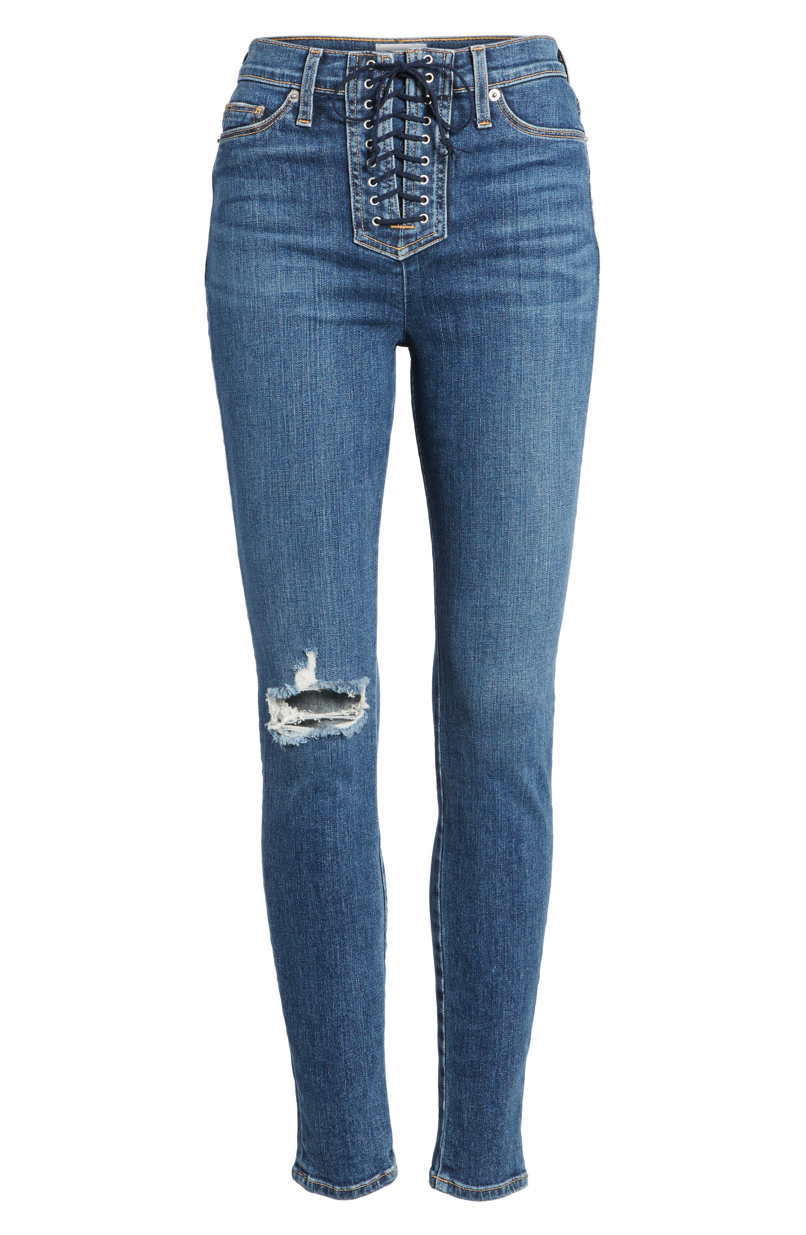 Bullocks Lace-Up High Waist Super Skinny Jeans,                             Alternate thumbnail 7, color,                             421