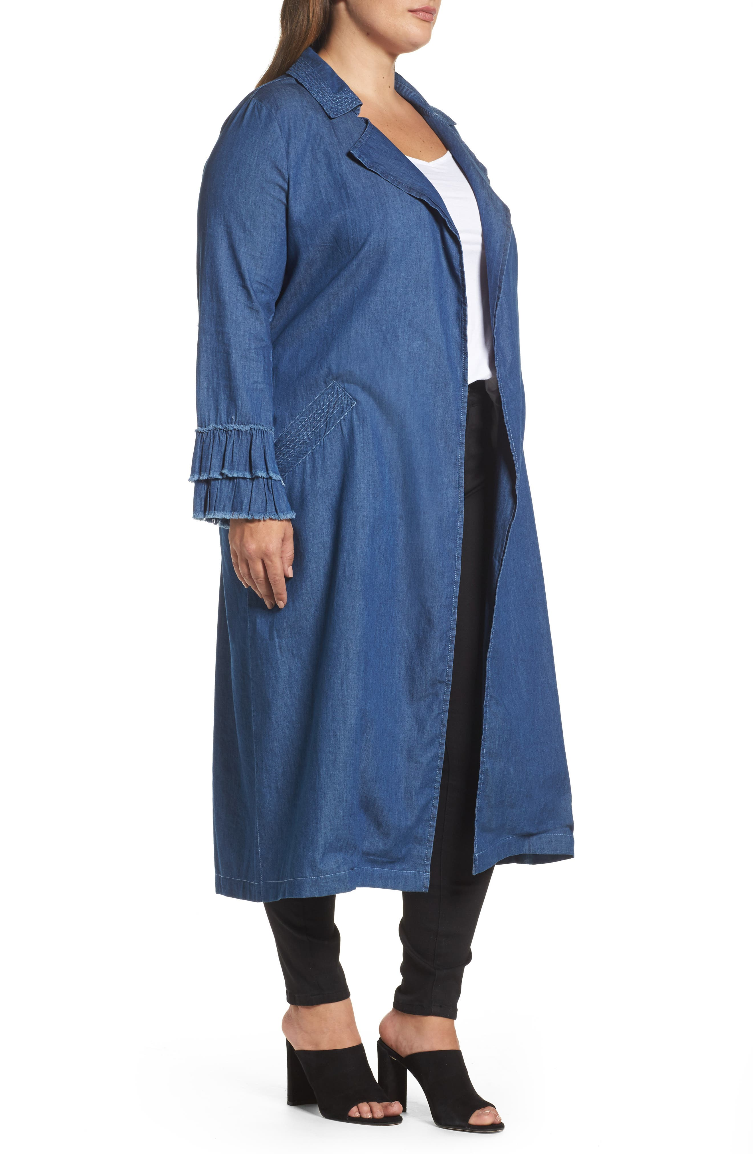 Chambray Trench Coat,                             Alternate thumbnail 3, color,                             400