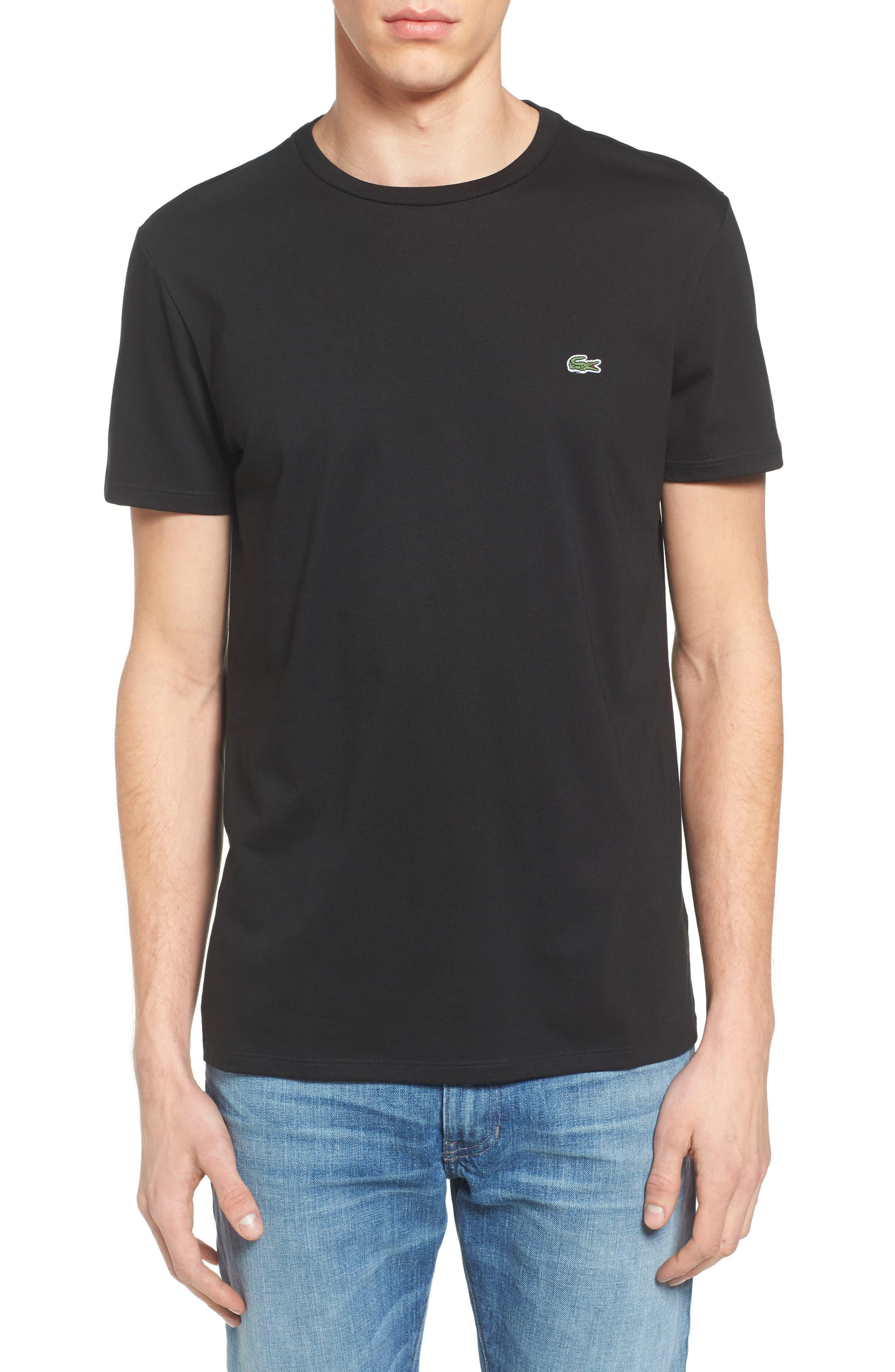 Pima Cotton T-Shirt,                         Main,                         color, BLACK