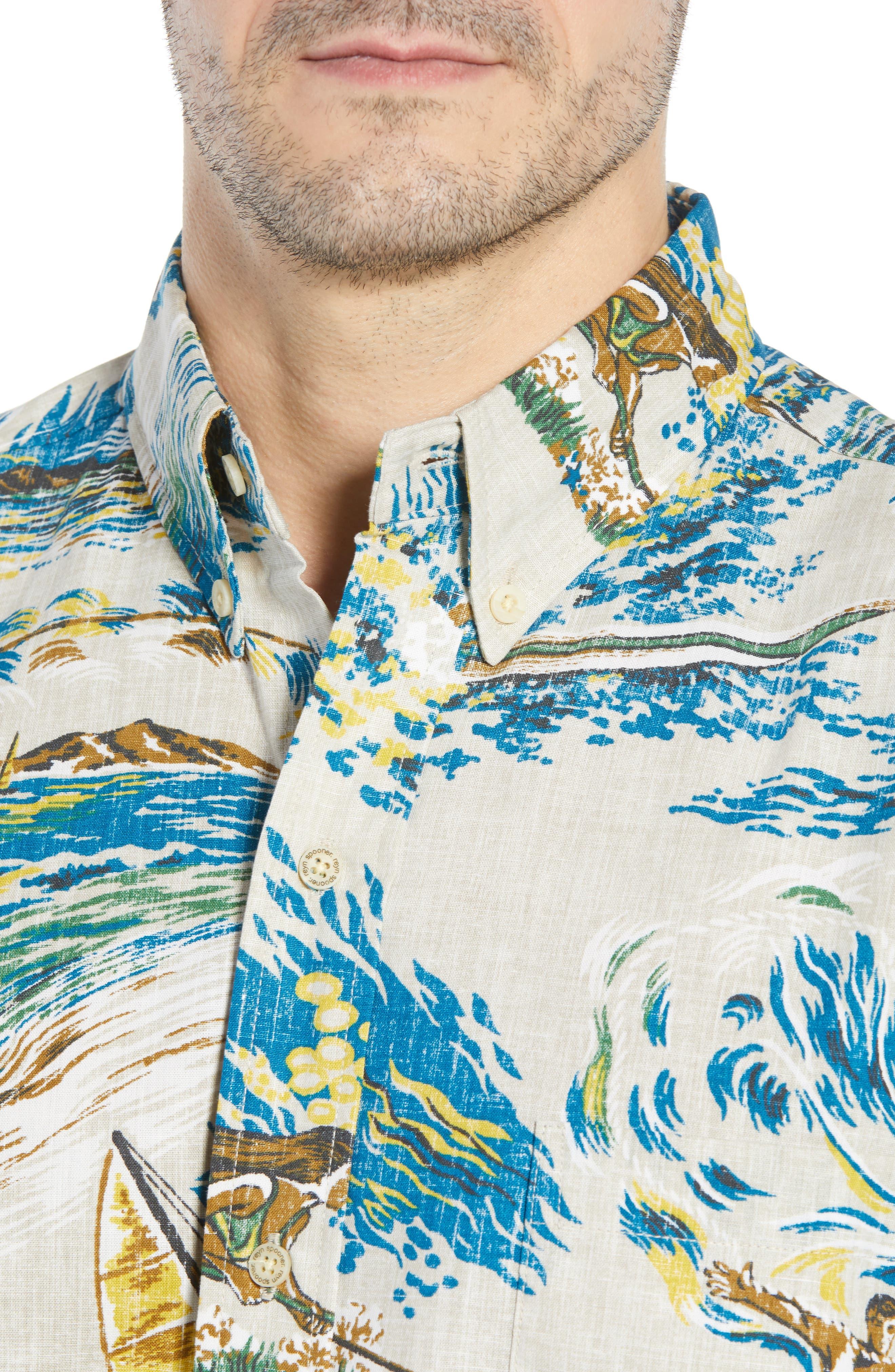 Moana Medley Classic Fit Print Sport Shirt,                             Alternate thumbnail 4, color,                             102