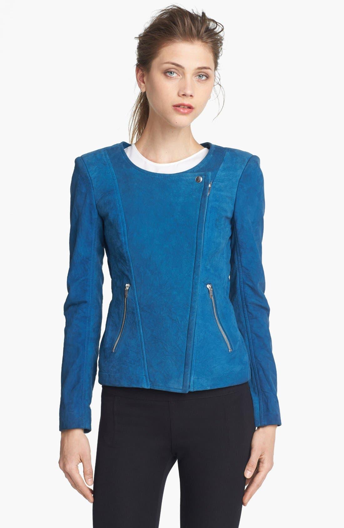 THEYSKENS' THEORY,                             'Jarde Nasher' Leather Jacket,                             Alternate thumbnail 4, color,                             406
