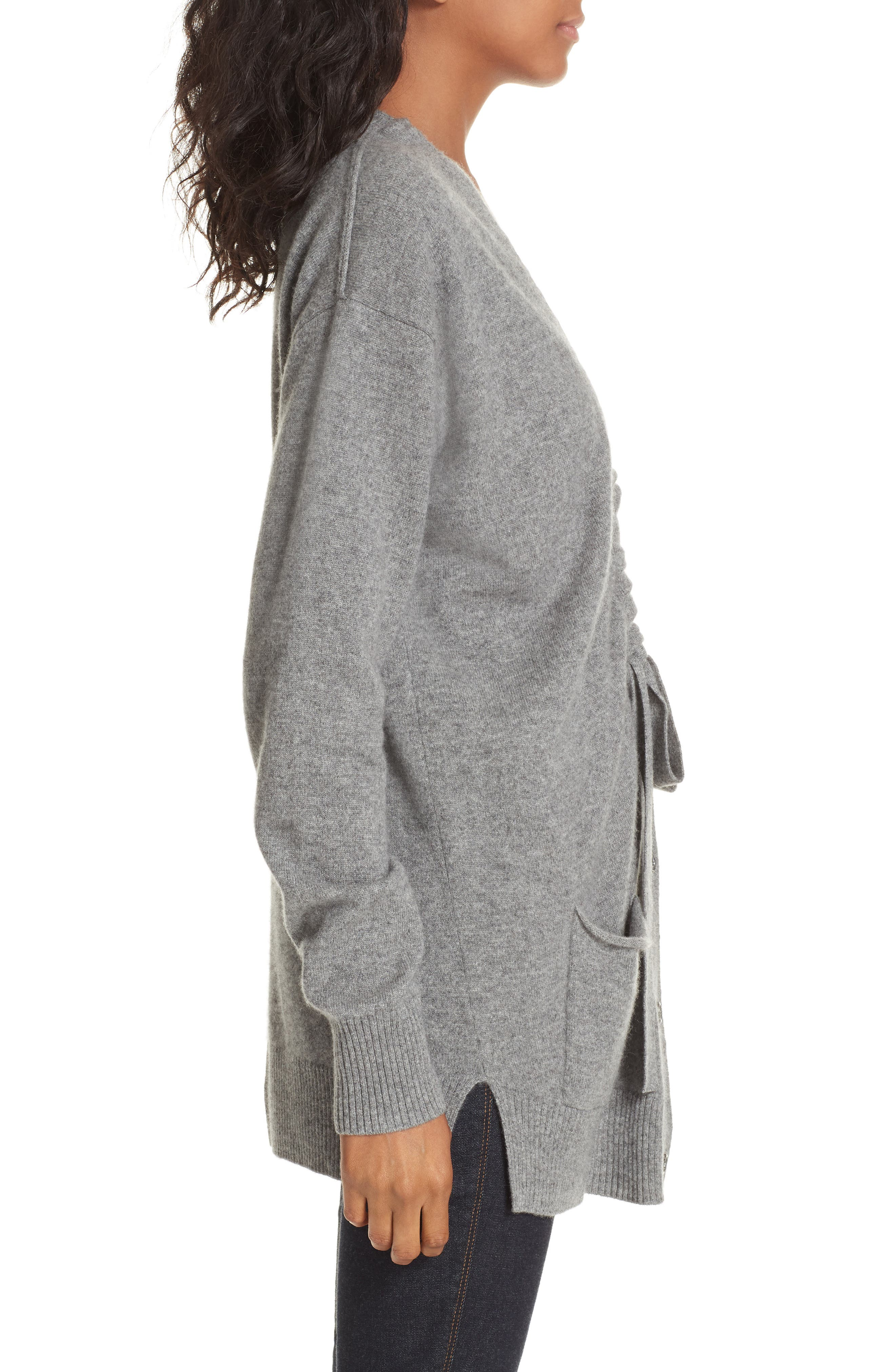 Bray Cashmere Cardigan,                             Alternate thumbnail 3, color,                             HEATHER GREY