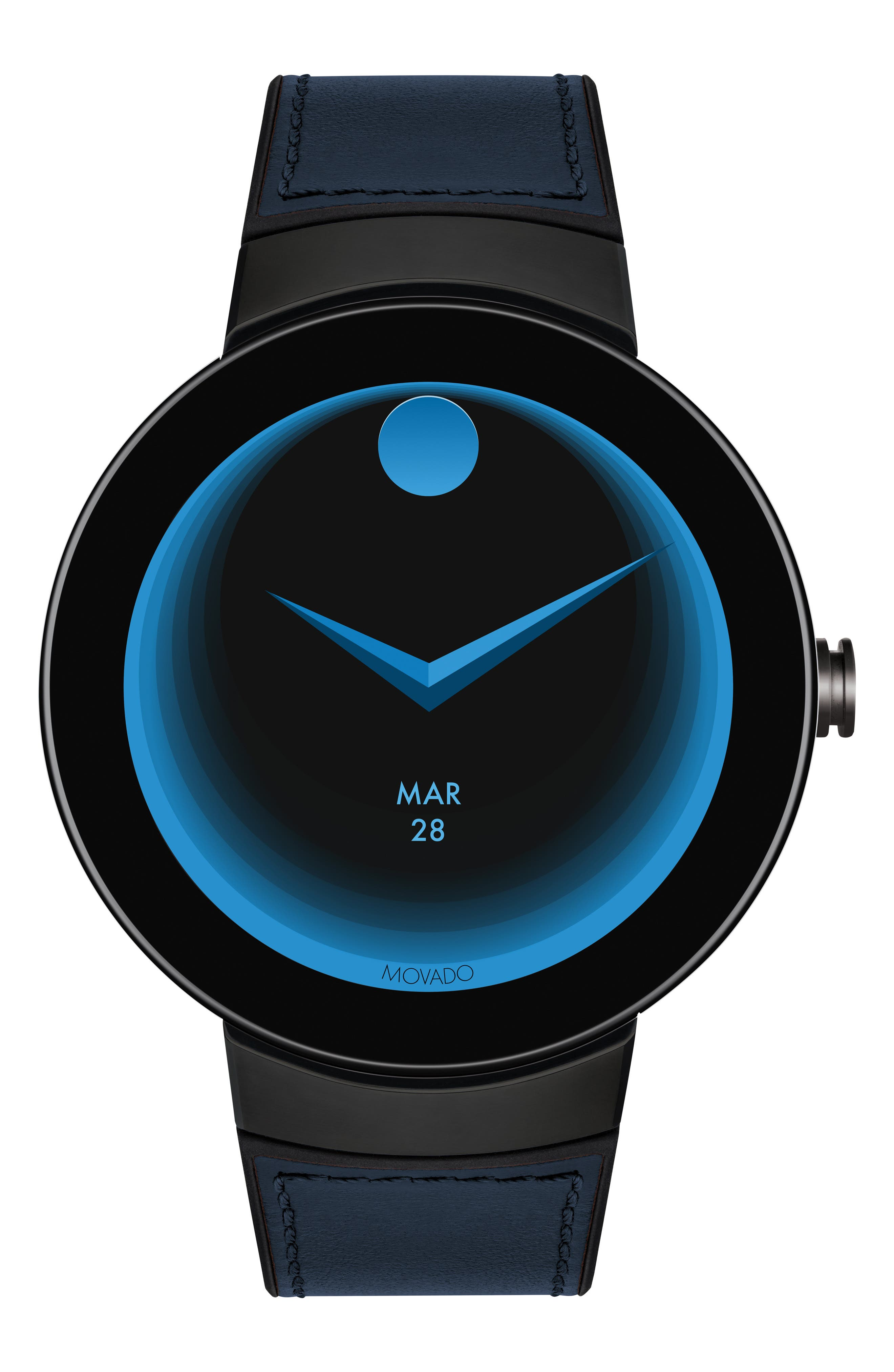 Connect Silicone & Leather Strap Smart Watch, 44mm,                             Alternate thumbnail 6, color,                             NAVY/ BLACK/ GUNMETAL