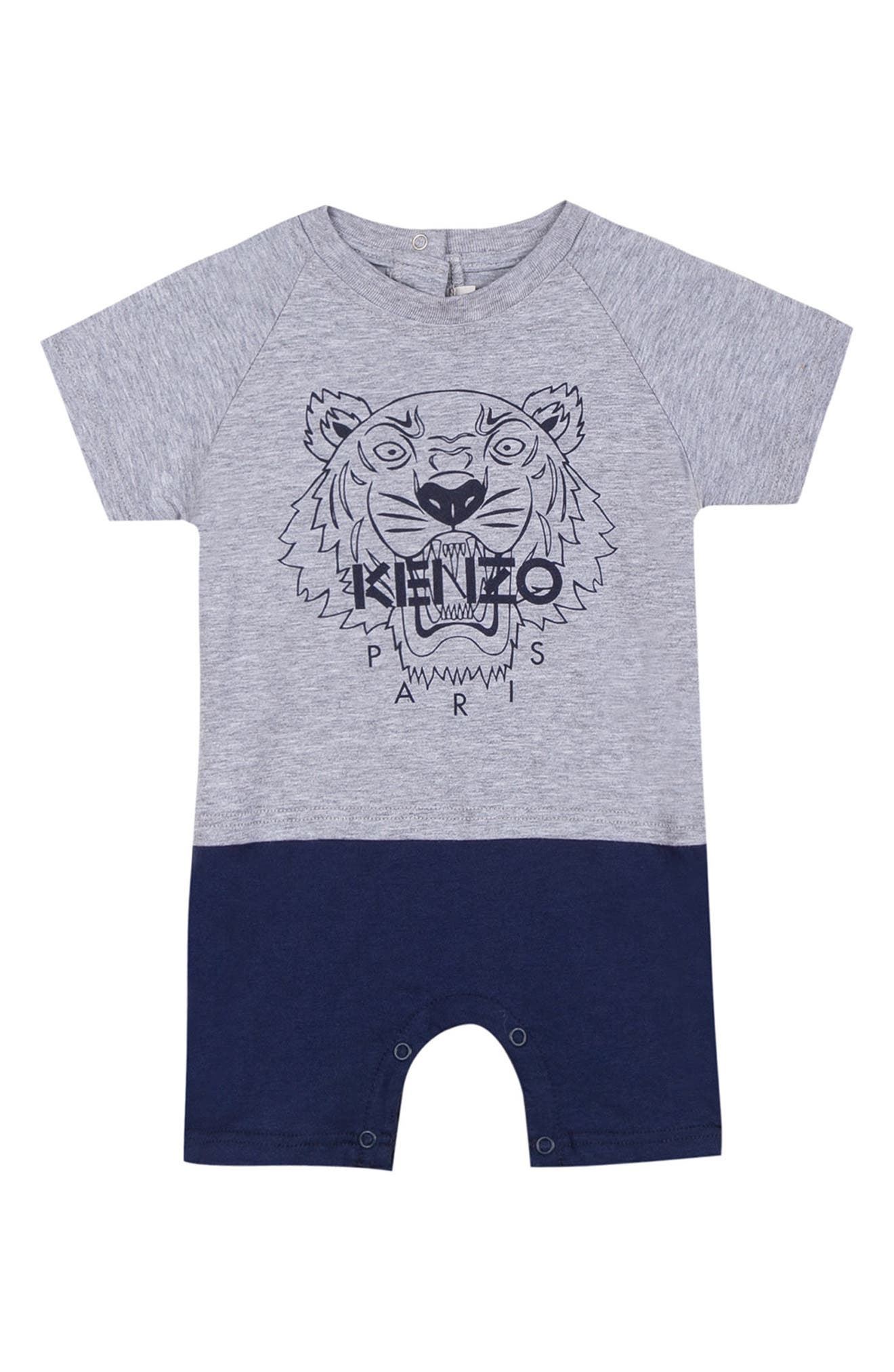 Tiger Logo Romper,                             Main thumbnail 1, color,                             GREY