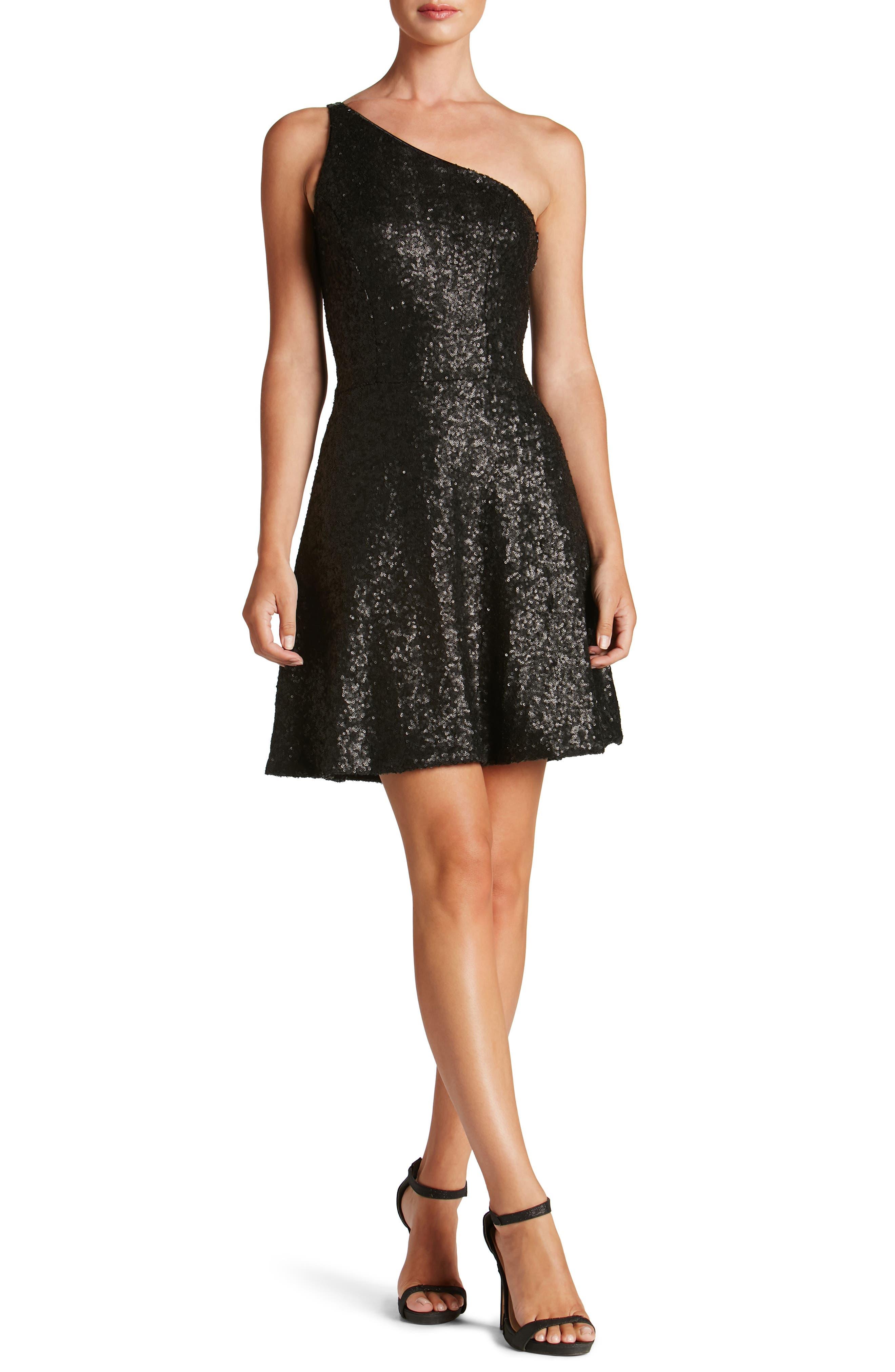 Tina One-Shoulder Sequin Fit & Flare Dress,                             Main thumbnail 1, color,                             018