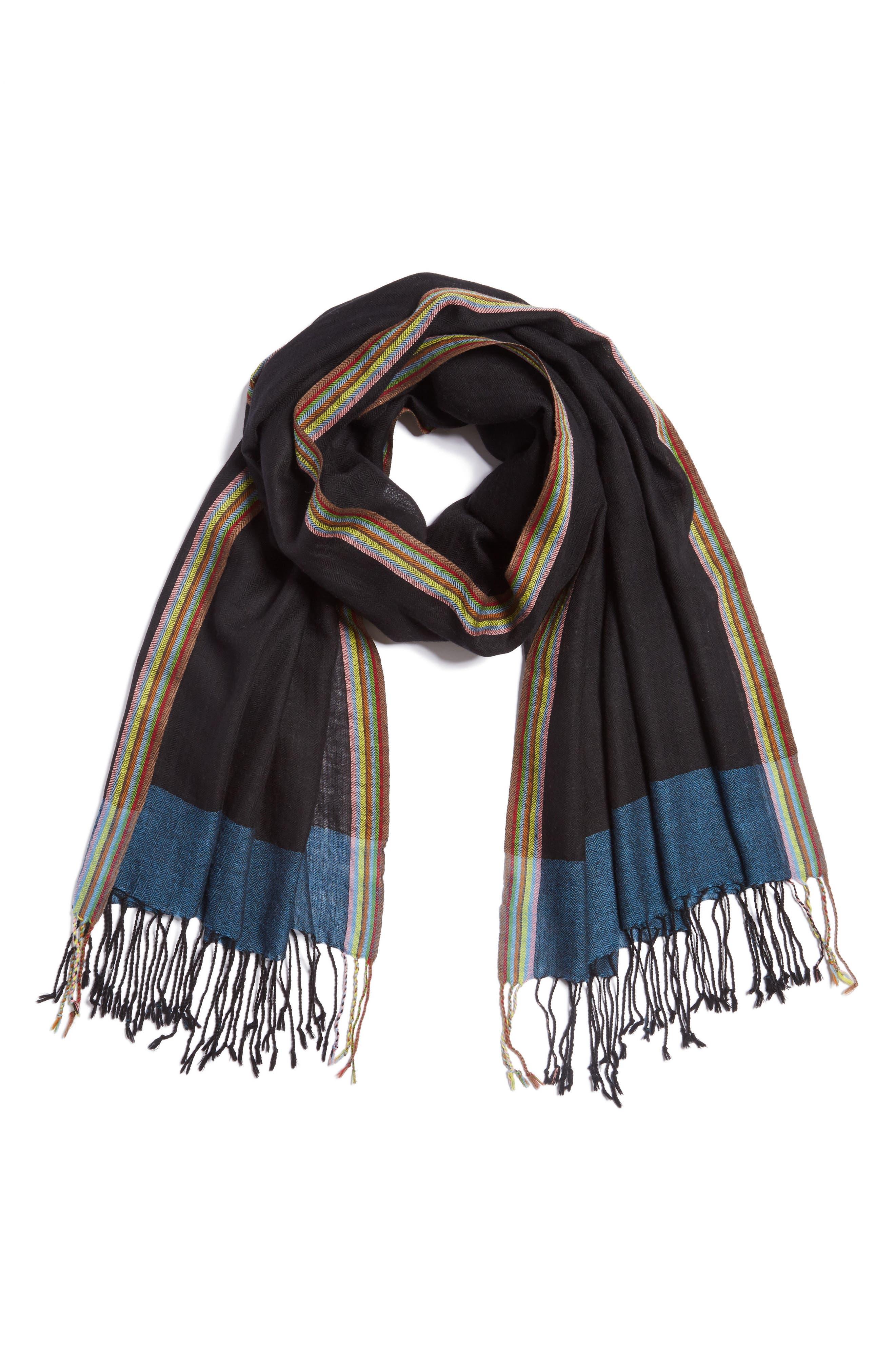 Stripe Herringbone Wool Scarf,                             Main thumbnail 1, color,                             001