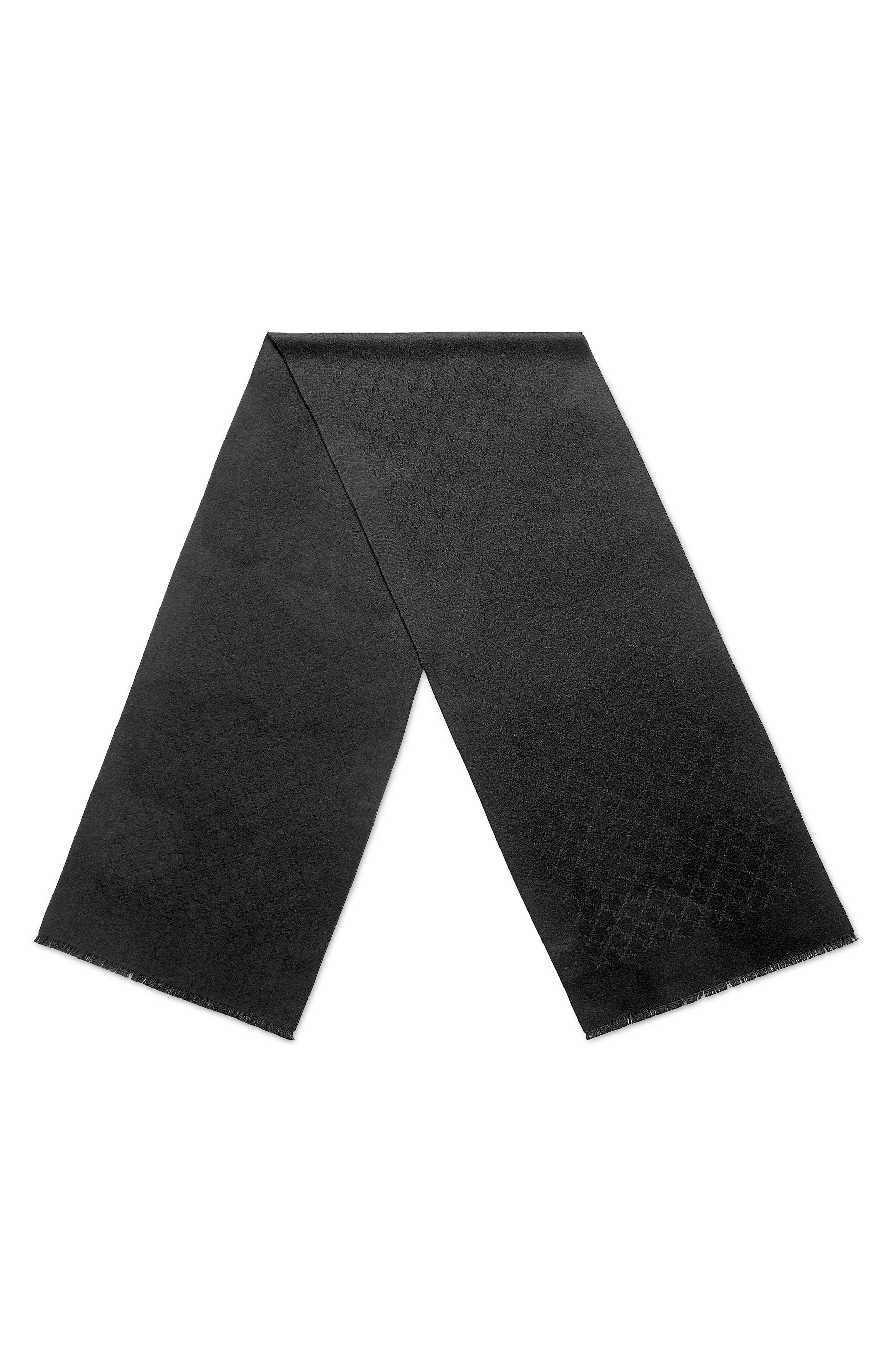 GG Gem Lux Jacquard Cashmere Scarf,                             Alternate thumbnail 2, color,                             1000 BLACK