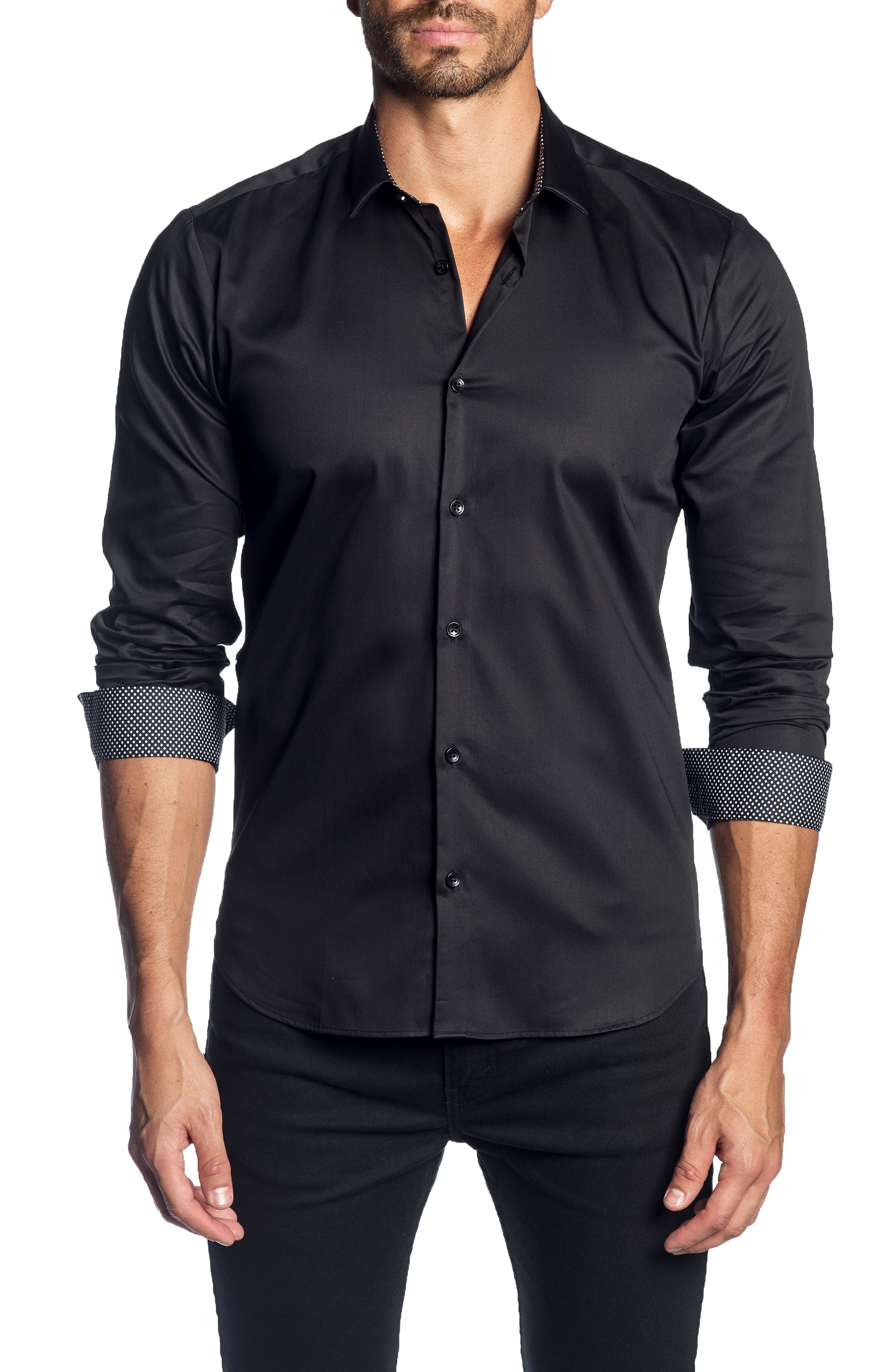 JARED LANG Trim Fit Solid Sport Shirt, Main, color, 001