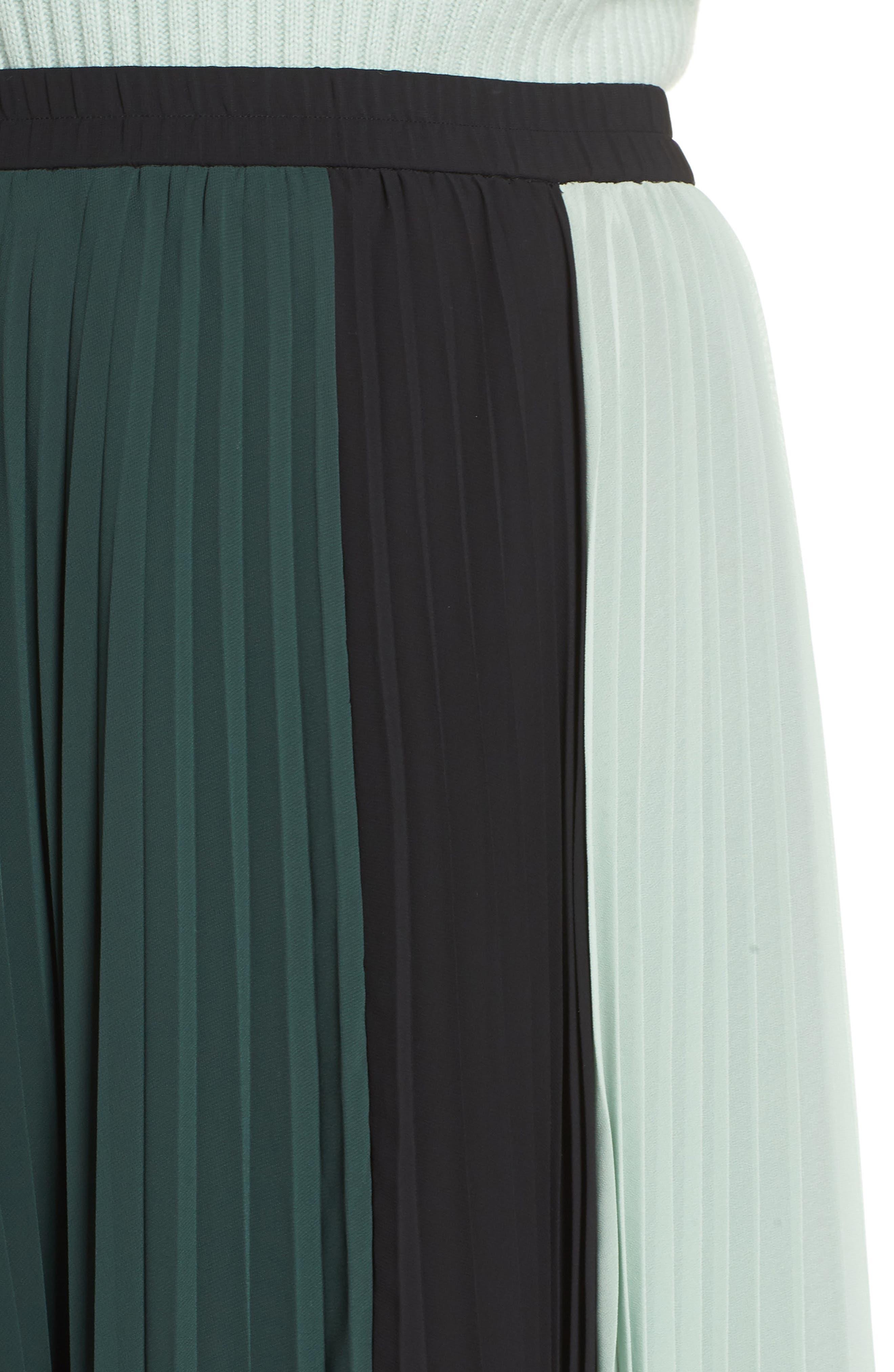 x Atlantic-Pacific Colorblock Pleated Midi Skirt,                             Alternate thumbnail 4, color,                             GREEN- BLACK COLORBLOCK
