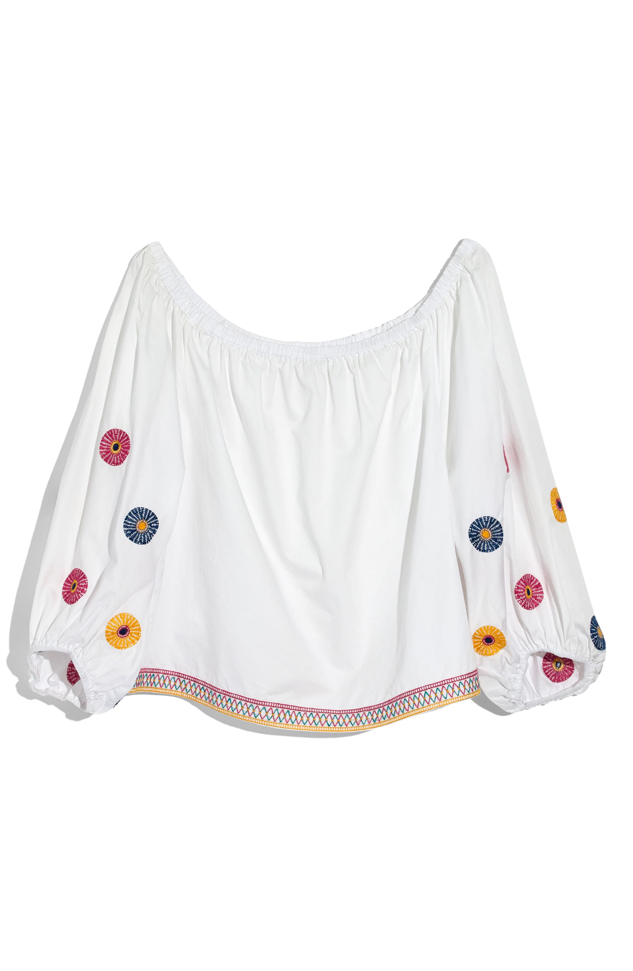 Embroidered Off the Shoulder Top,                             Alternate thumbnail 3, color,                             100